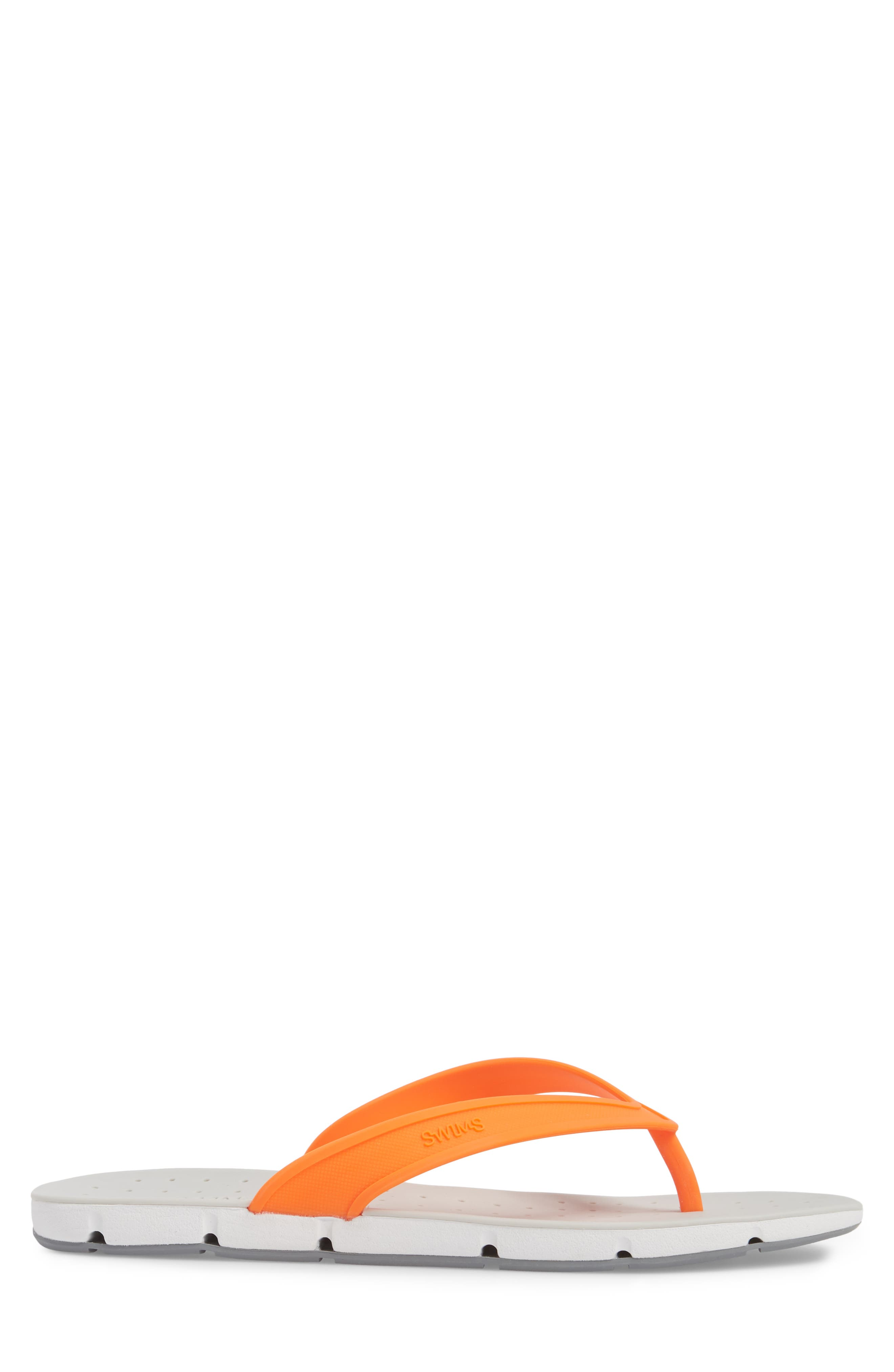 Breeze Flip Flop,                             Alternate thumbnail 3, color,                             Orange/ White/ Grey Fabric