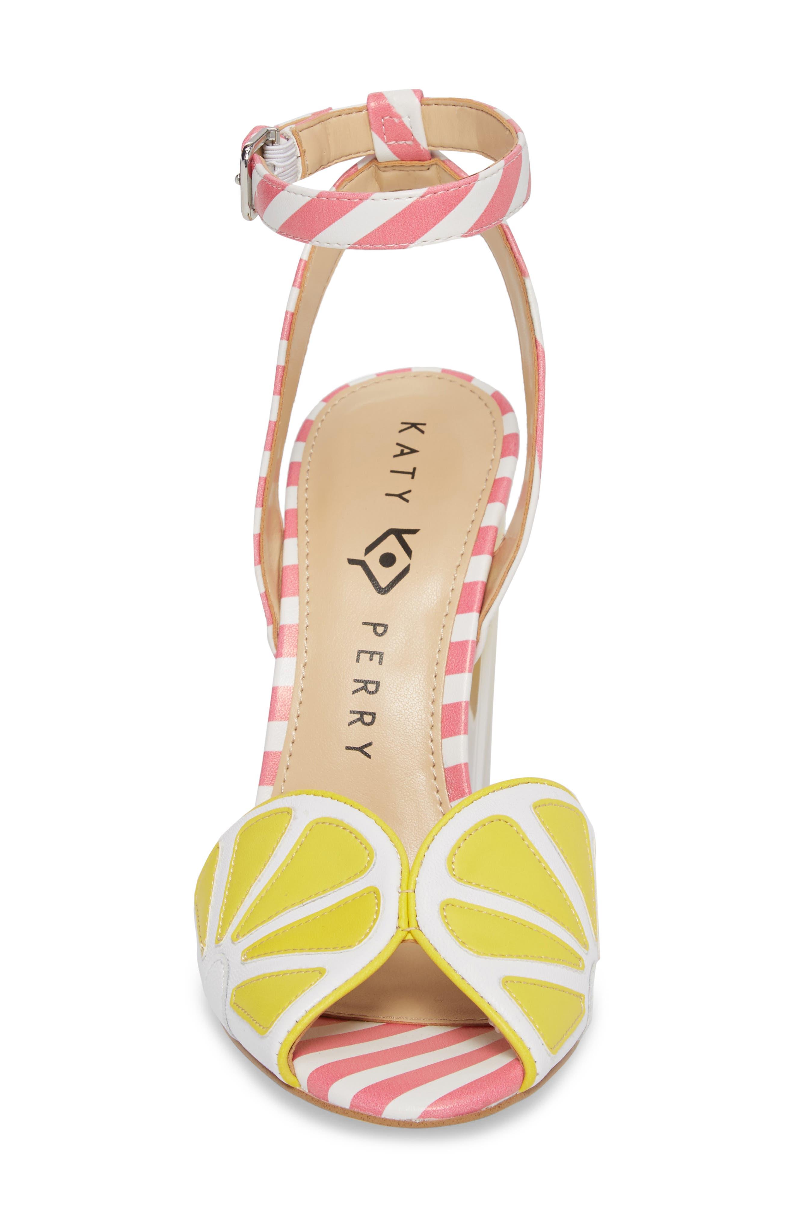 The Citron Sandal,                             Alternate thumbnail 4, color,                             Yellow/ White Leather