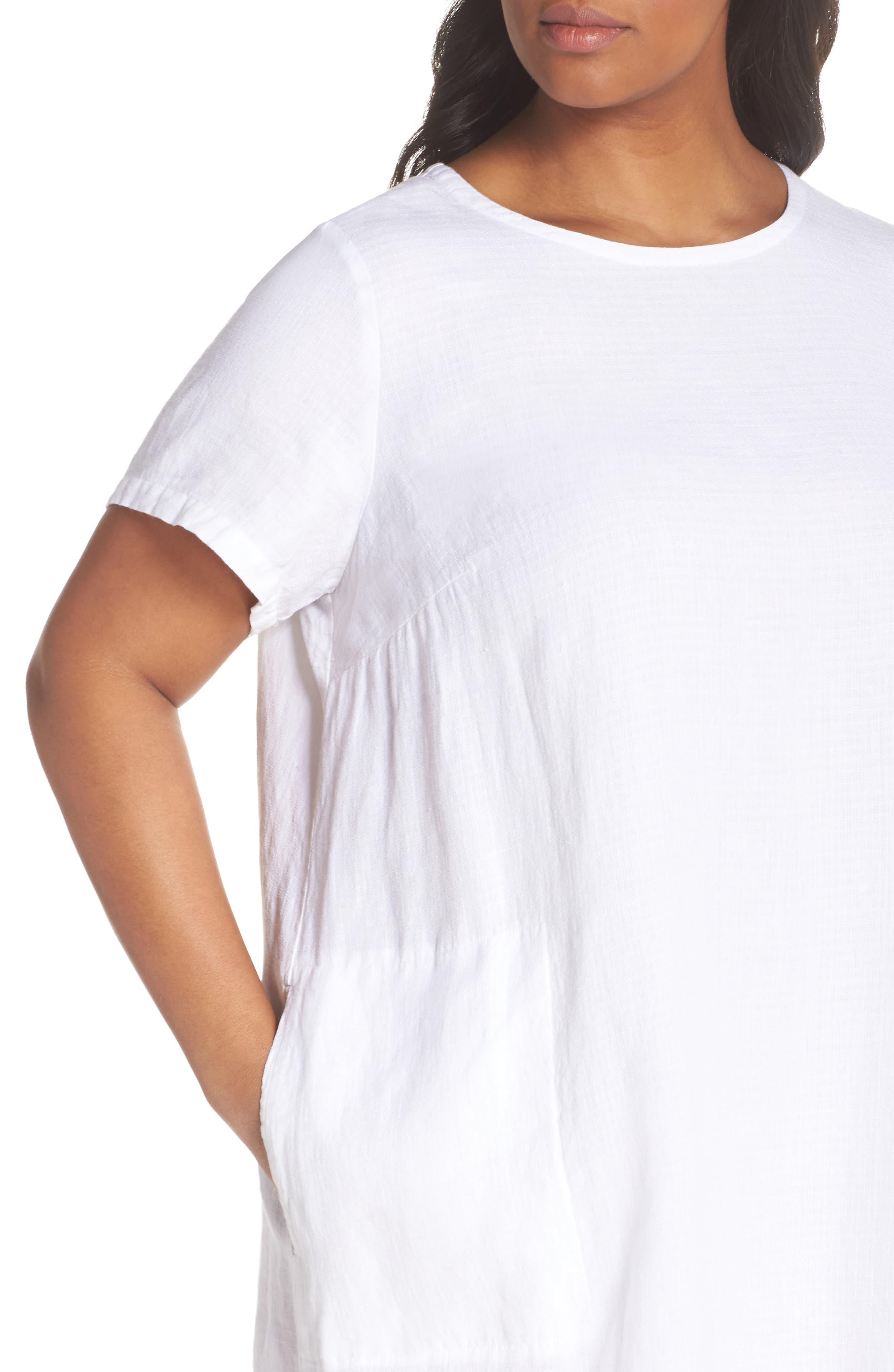 Linen Blend Shift Dress,                             Alternate thumbnail 4, color,                             White