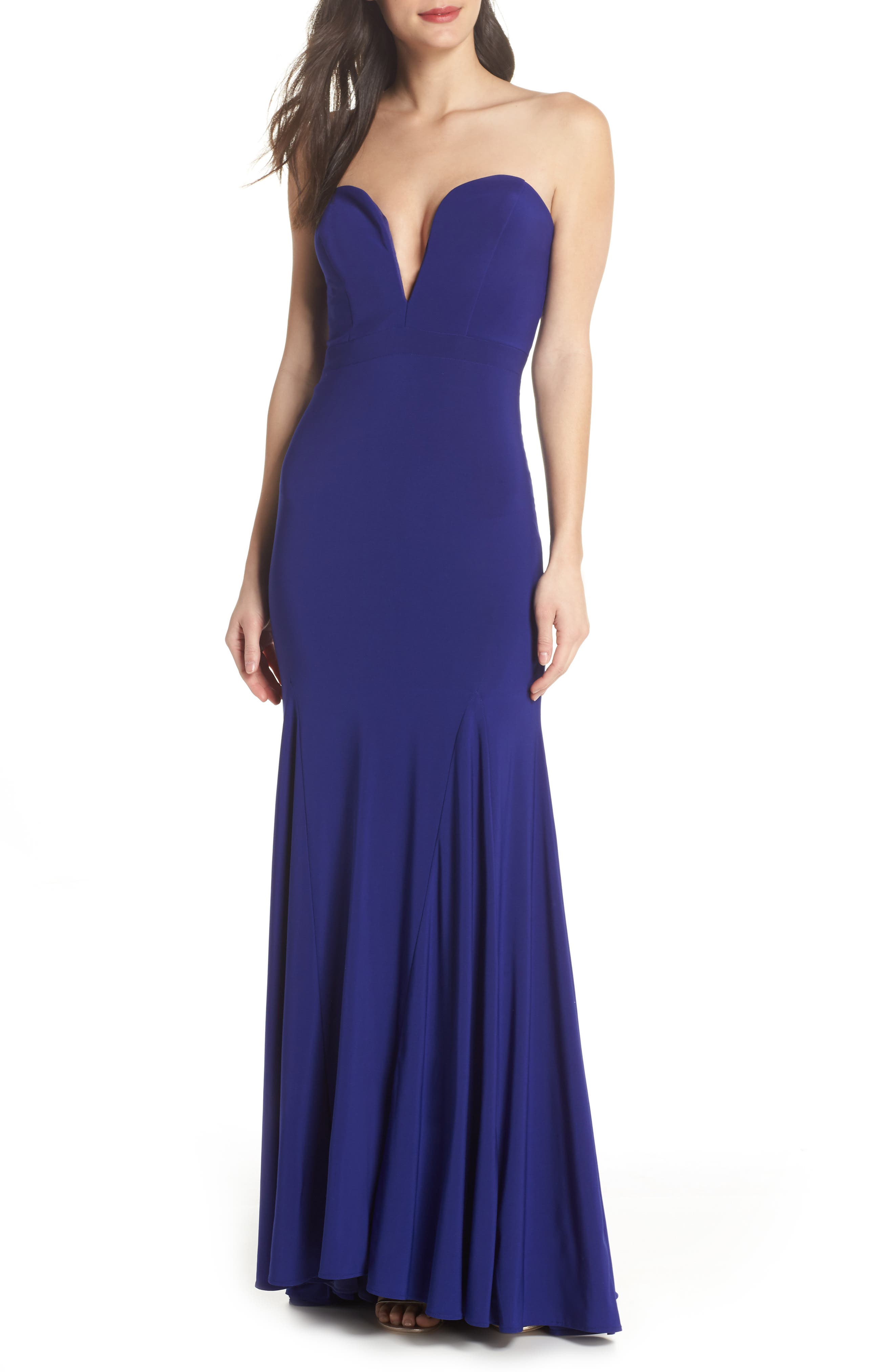 Bustier Strapless Gown,                         Main,                         color, Electric Blue