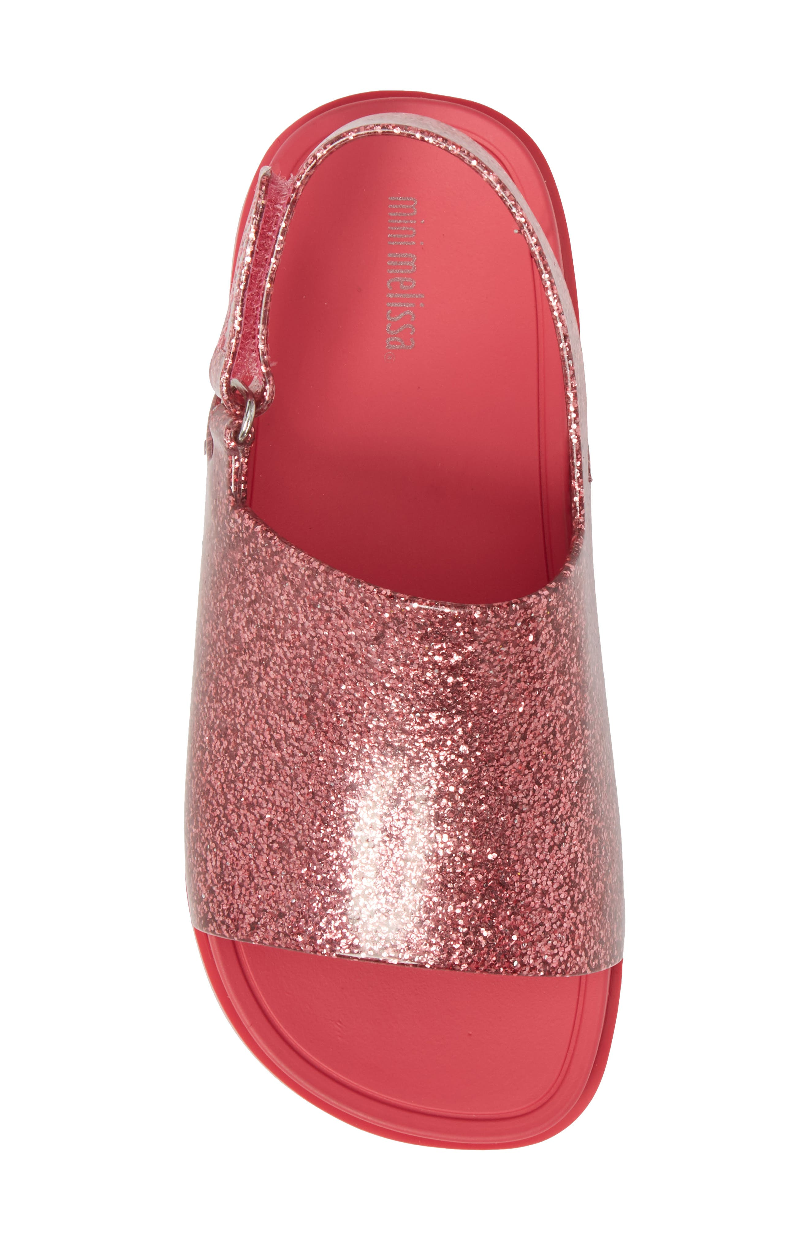 Mini Beach Sandal,                             Alternate thumbnail 5, color,                             Pink Glitter