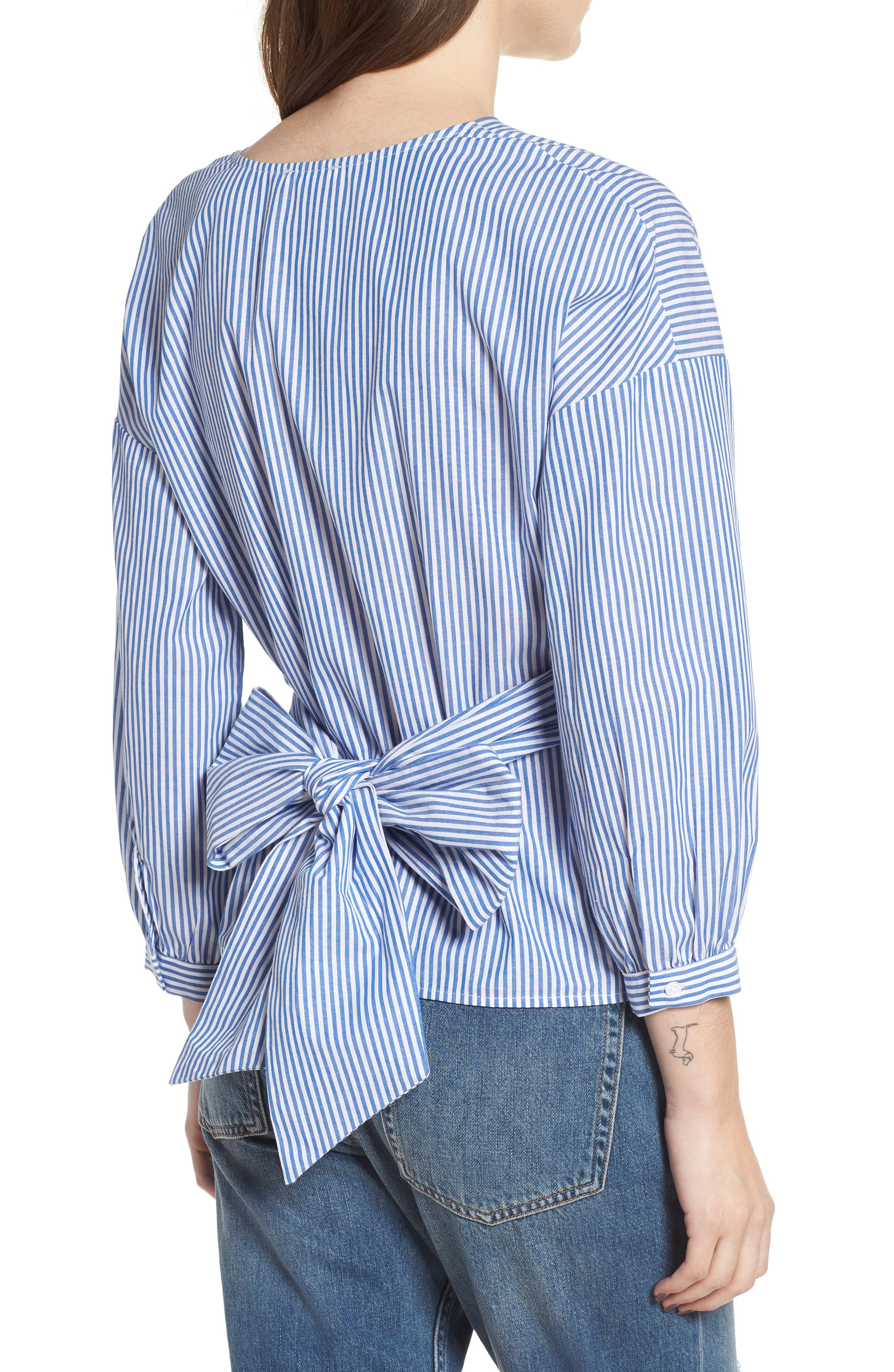 Stripe Wrap Top,                             Alternate thumbnail 2, color,                             Blue/ White