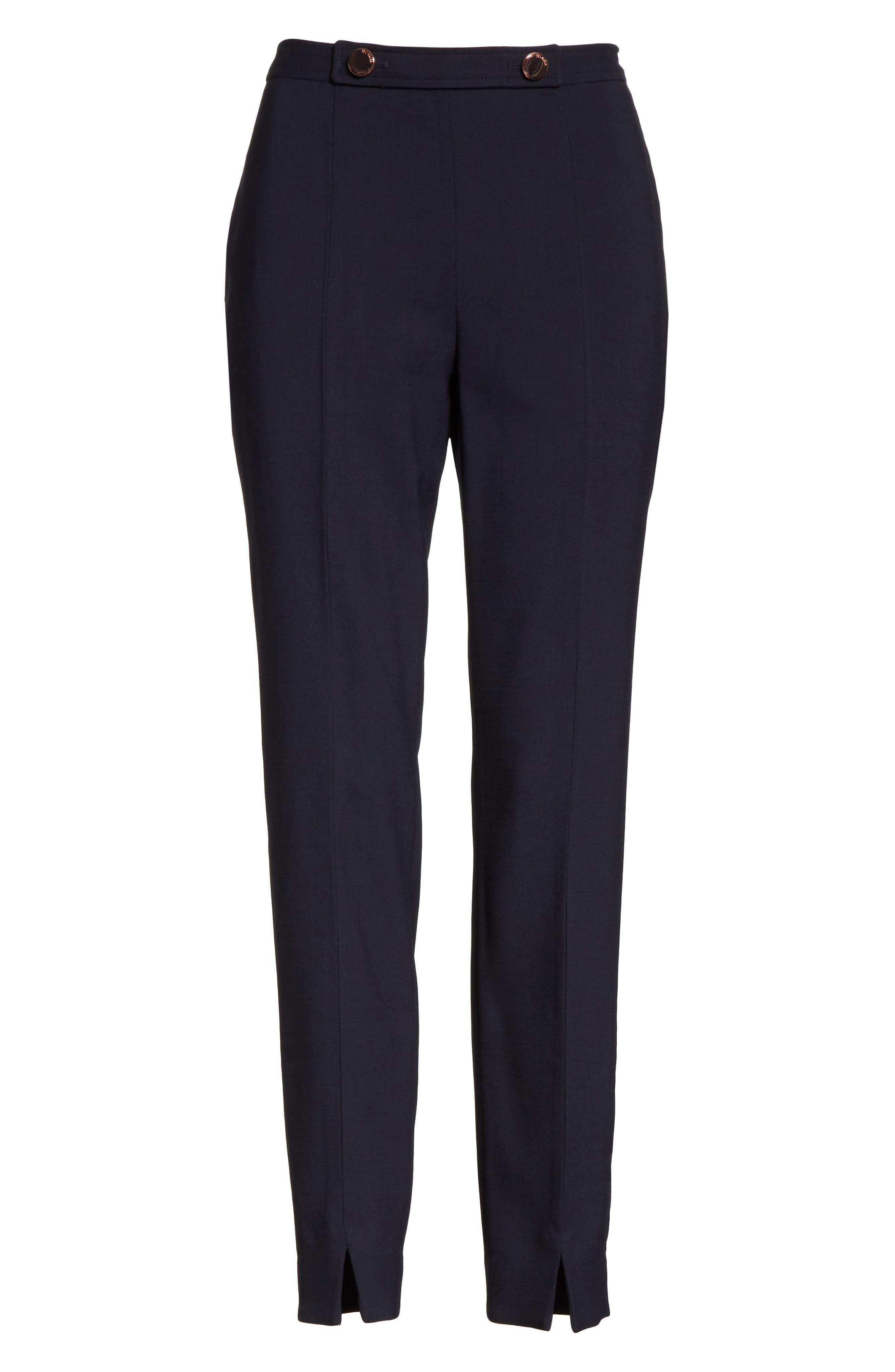 Front Slit Skinny Trousers,                             Alternate thumbnail 6, color,                             Navy