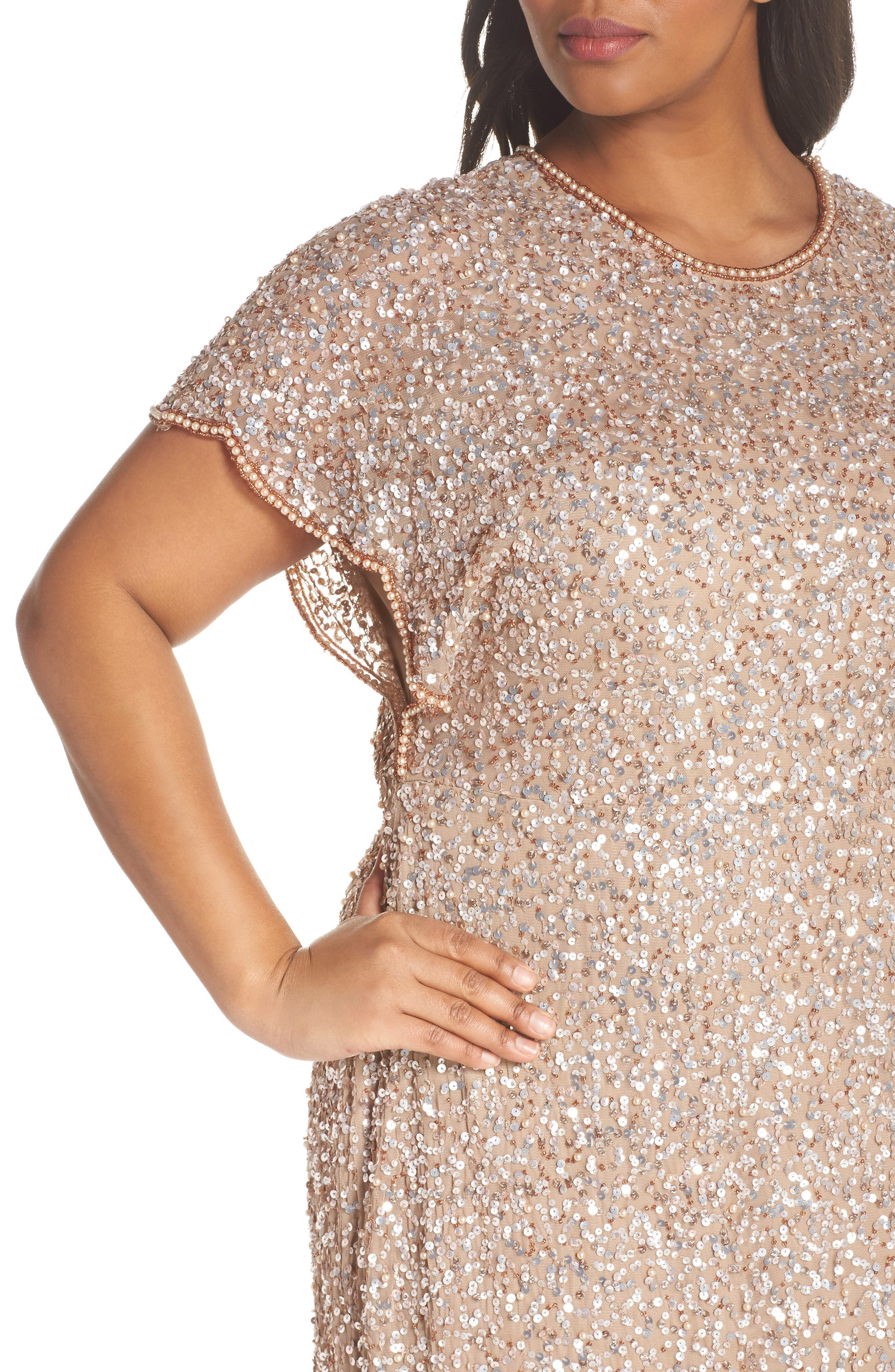 Alternate Image 4  - Adrianna Papell Flutter Sleeve Beaded Sequin Gown (Plus Size)