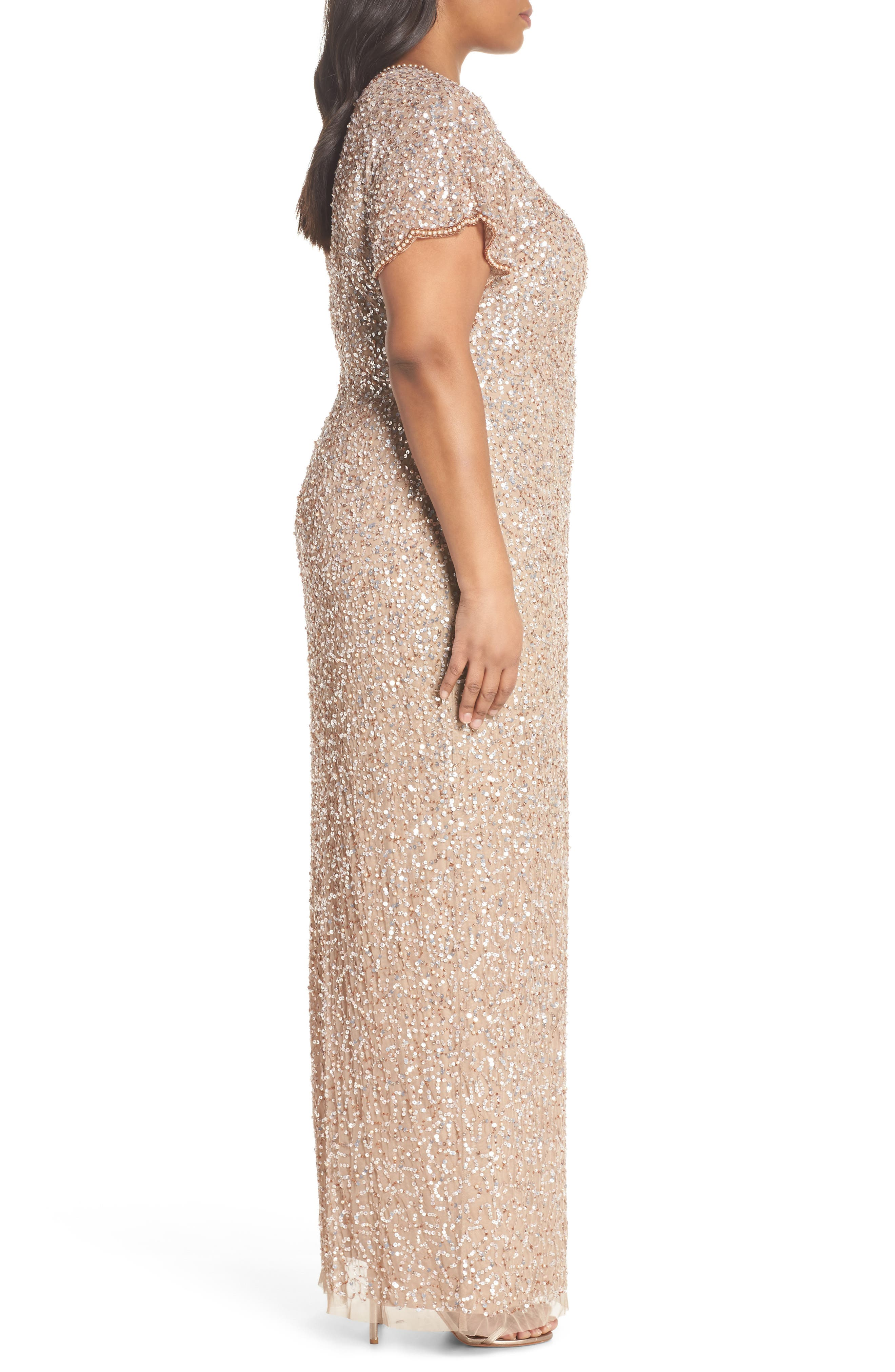 Alternate Image 3  - Adrianna Papell Flutter Sleeve Beaded Sequin Gown (Plus Size)