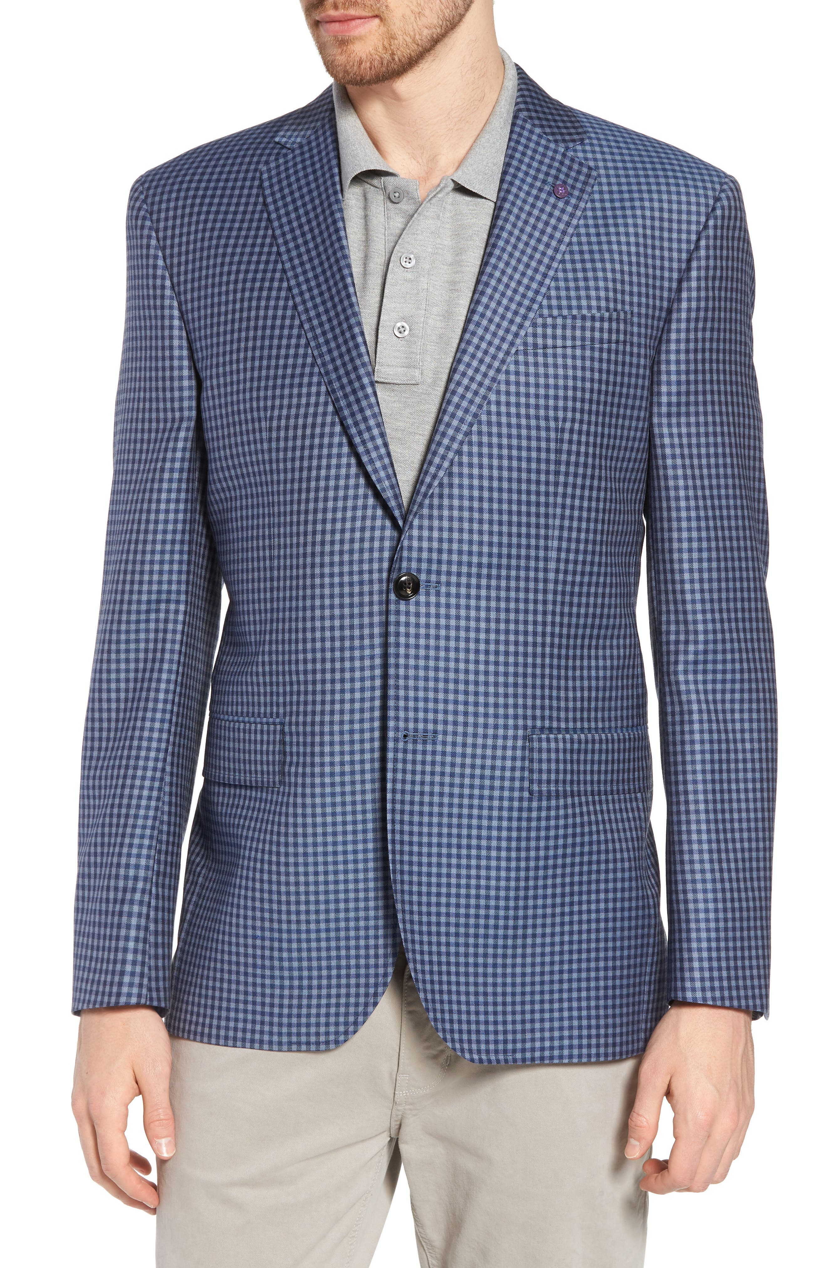 Jay Trim Fit Check Wool Sport Coat,                         Main,                         color, Blue