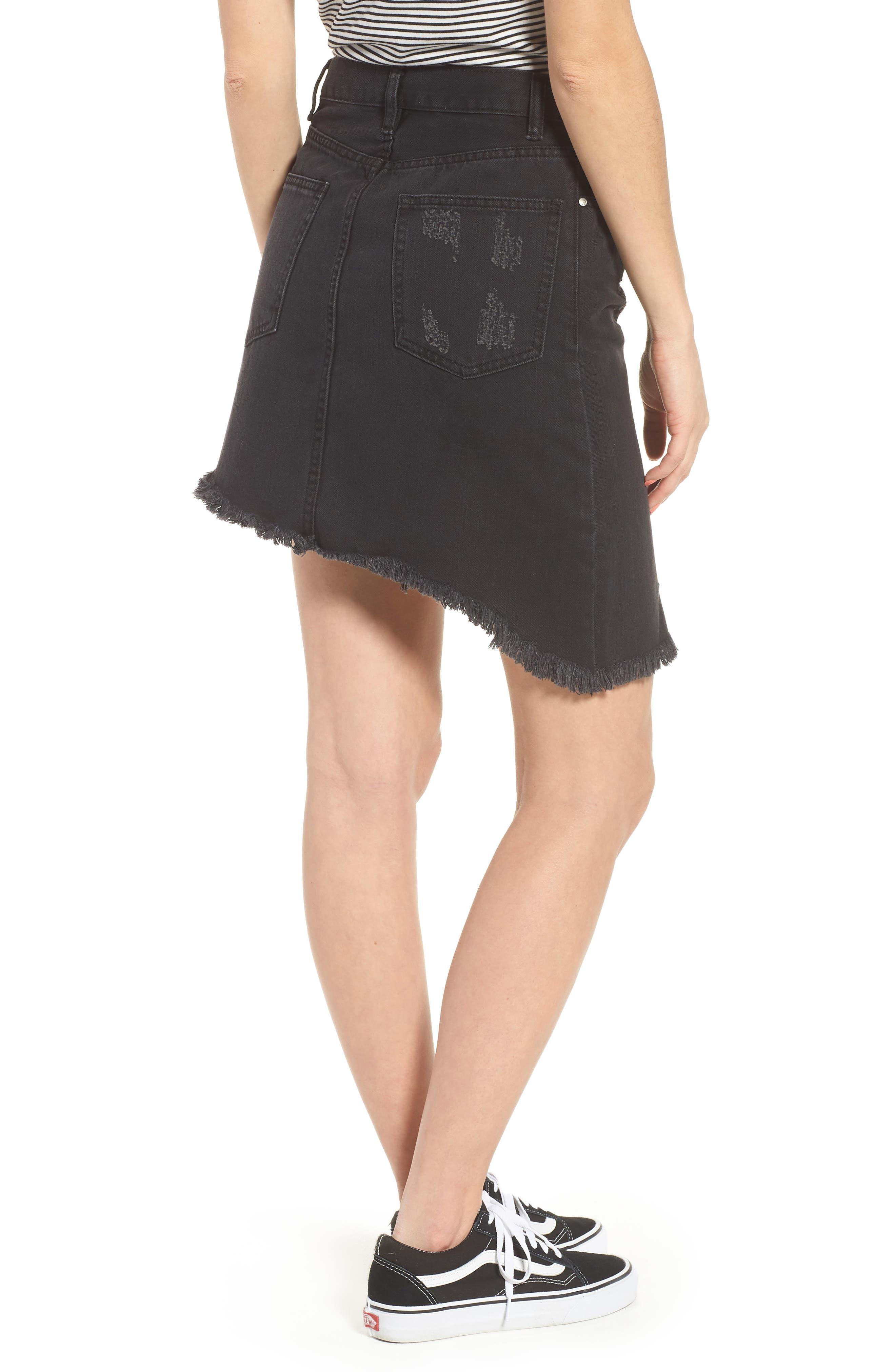 EVDNT Modena Asymmetrical Denim Skirt,                             Alternate thumbnail 2, color,                             Black Sheep