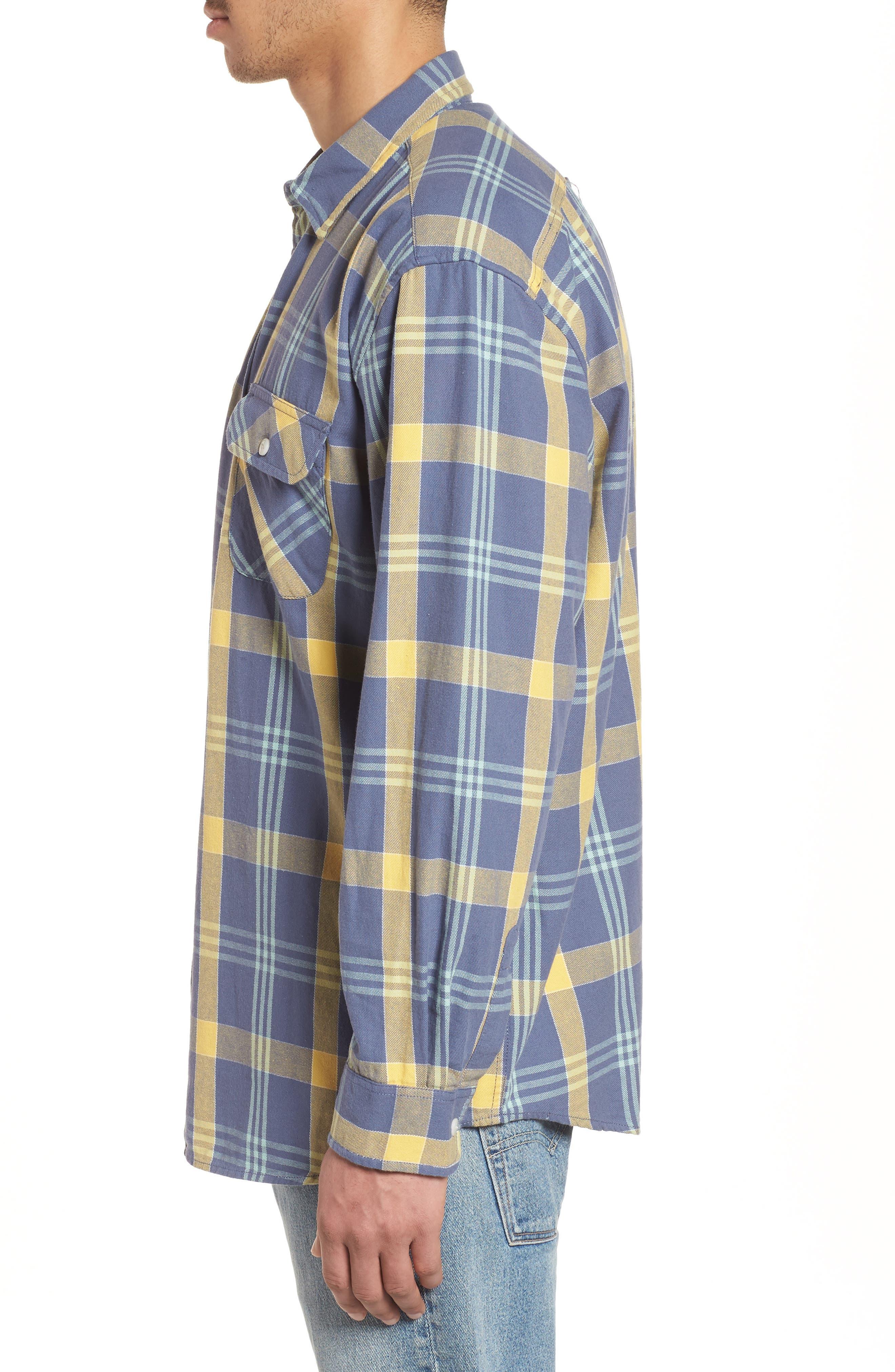 Beach Shack Twill Shirt,                             Alternate thumbnail 3, color,                             65310 Indigo/Orche Plaid
