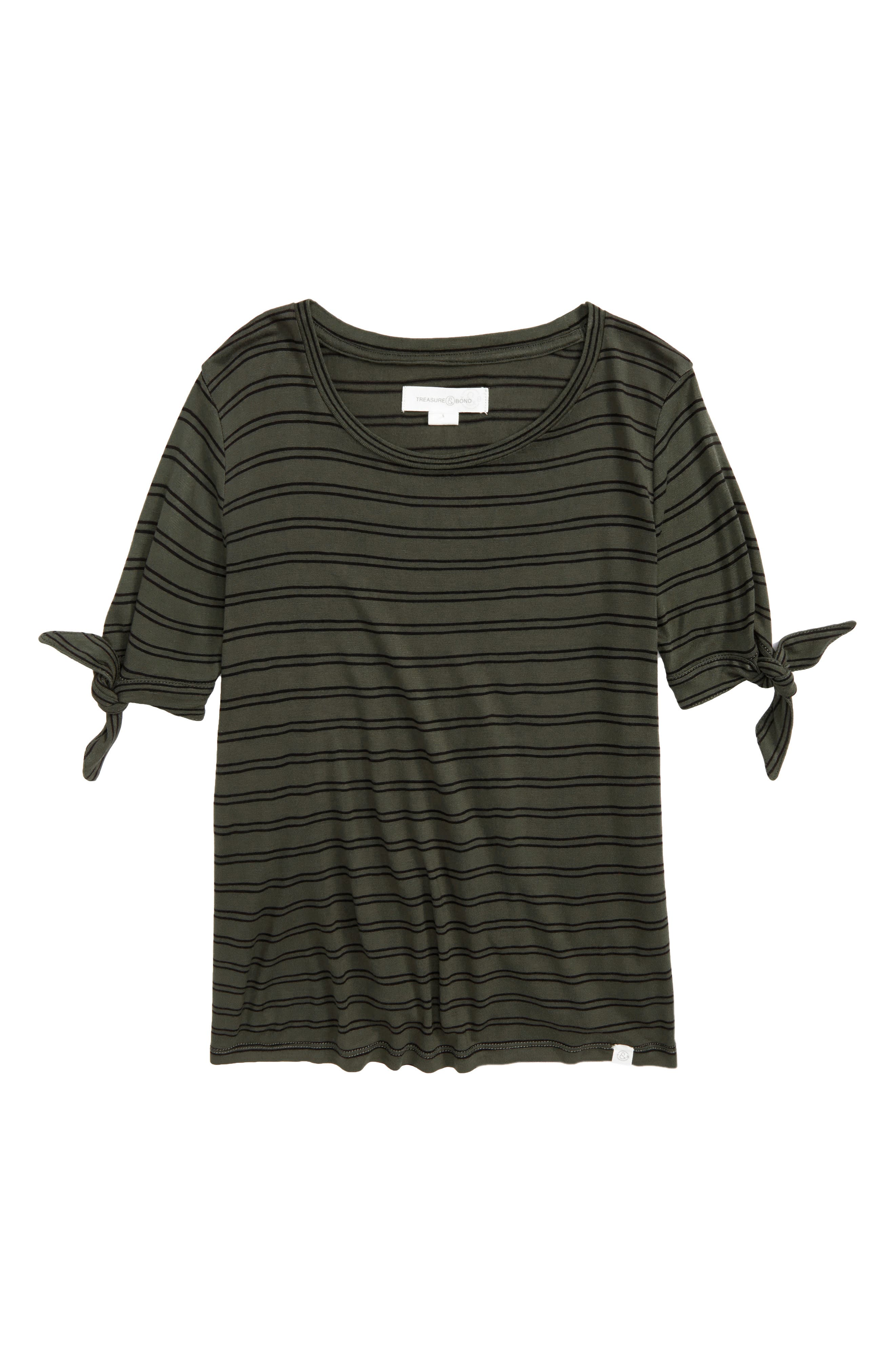 Tie Sleeve Tee,                             Main thumbnail 1, color,                             Olive Sarma- Black Stripe