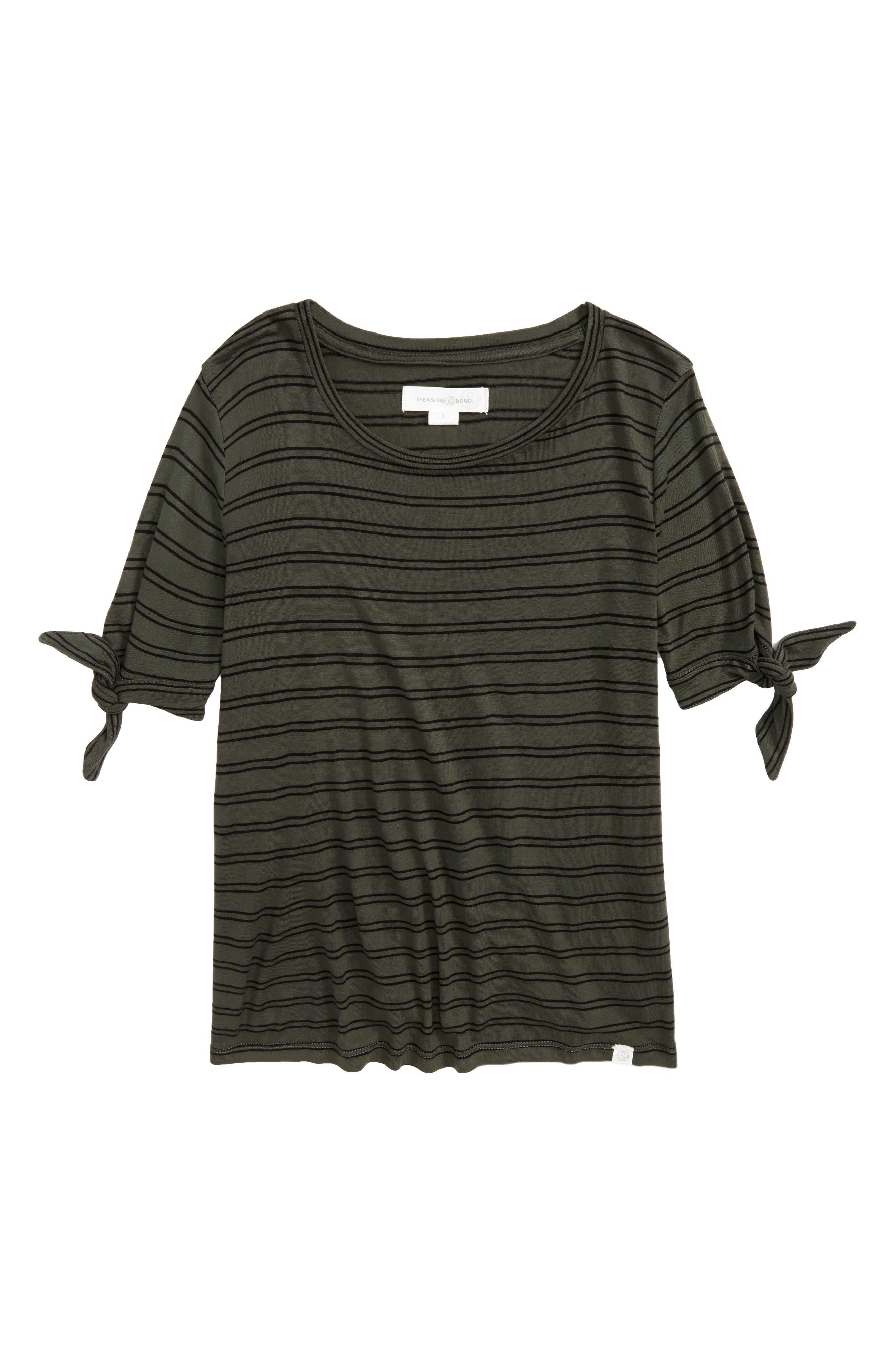 Tie Sleeve Tee,                         Main,                         color, Olive Sarma- Black Stripe