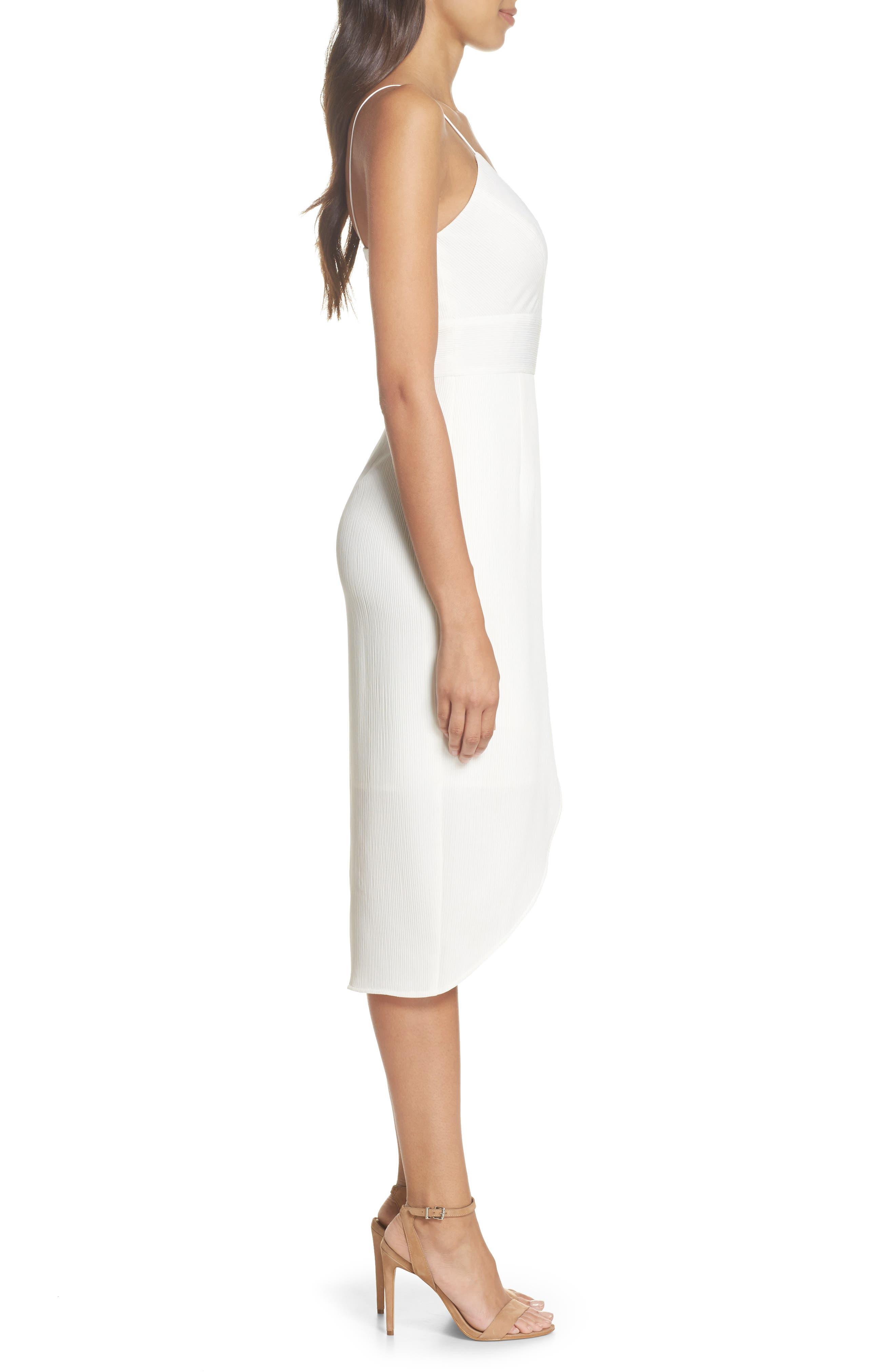 Micro Pleat Tulip Hem Dress,                             Alternate thumbnail 3, color,                             White Snow
