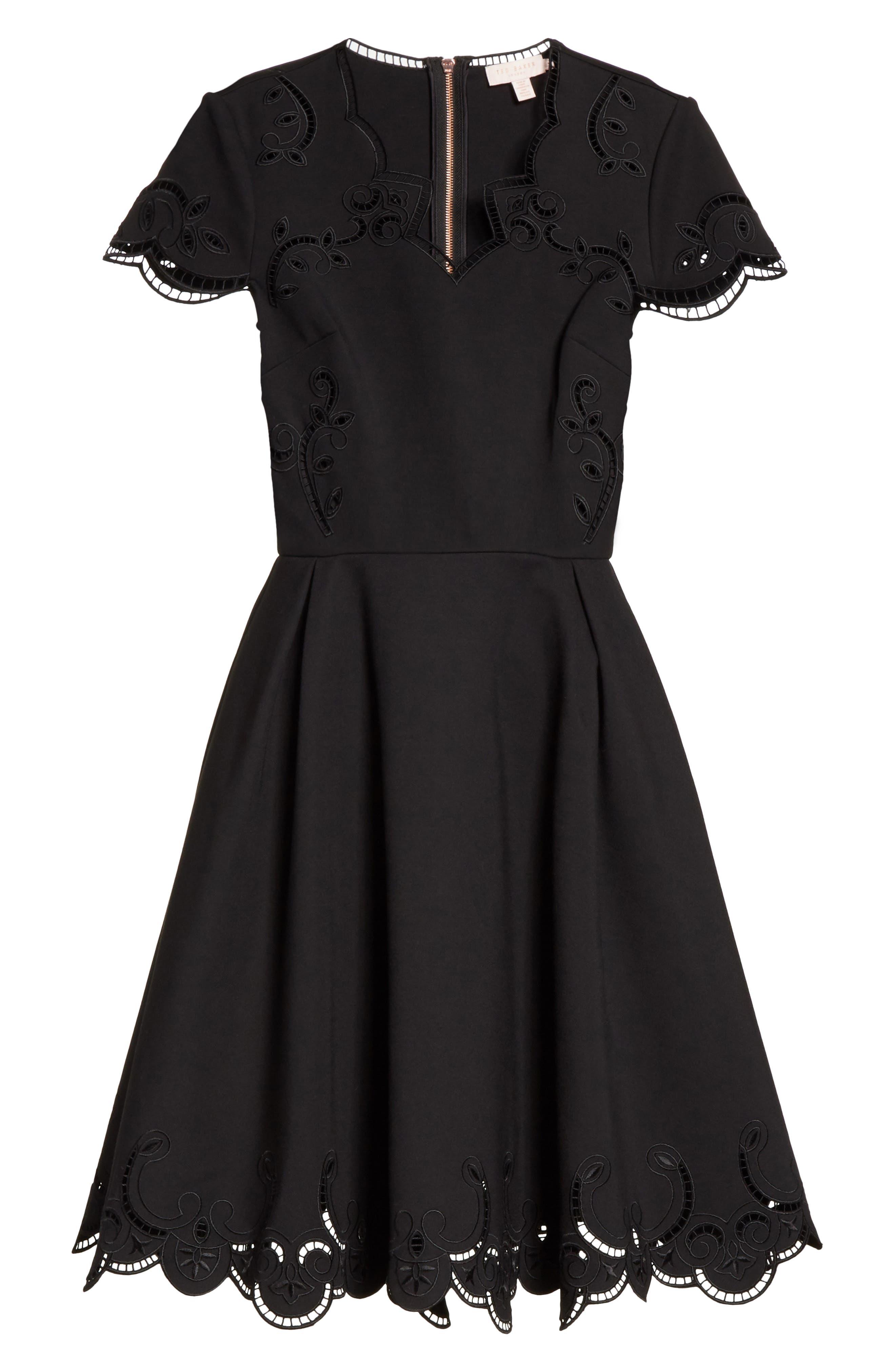 Embroidered Skater Dress,                             Alternate thumbnail 6, color,                             Black