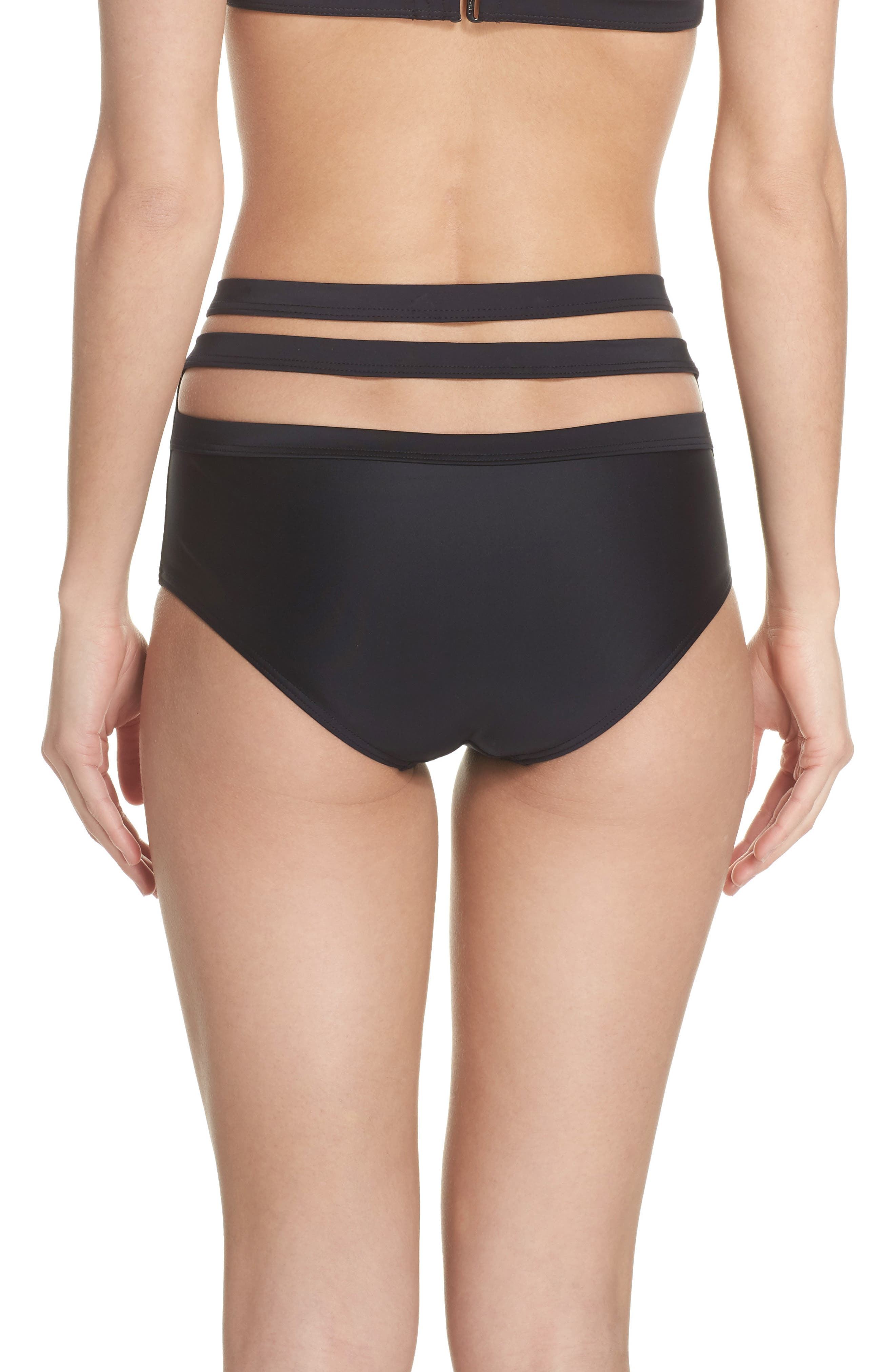 Bouloux II High Waist Bikini Bottoms,                             Alternate thumbnail 3, color,                             Black