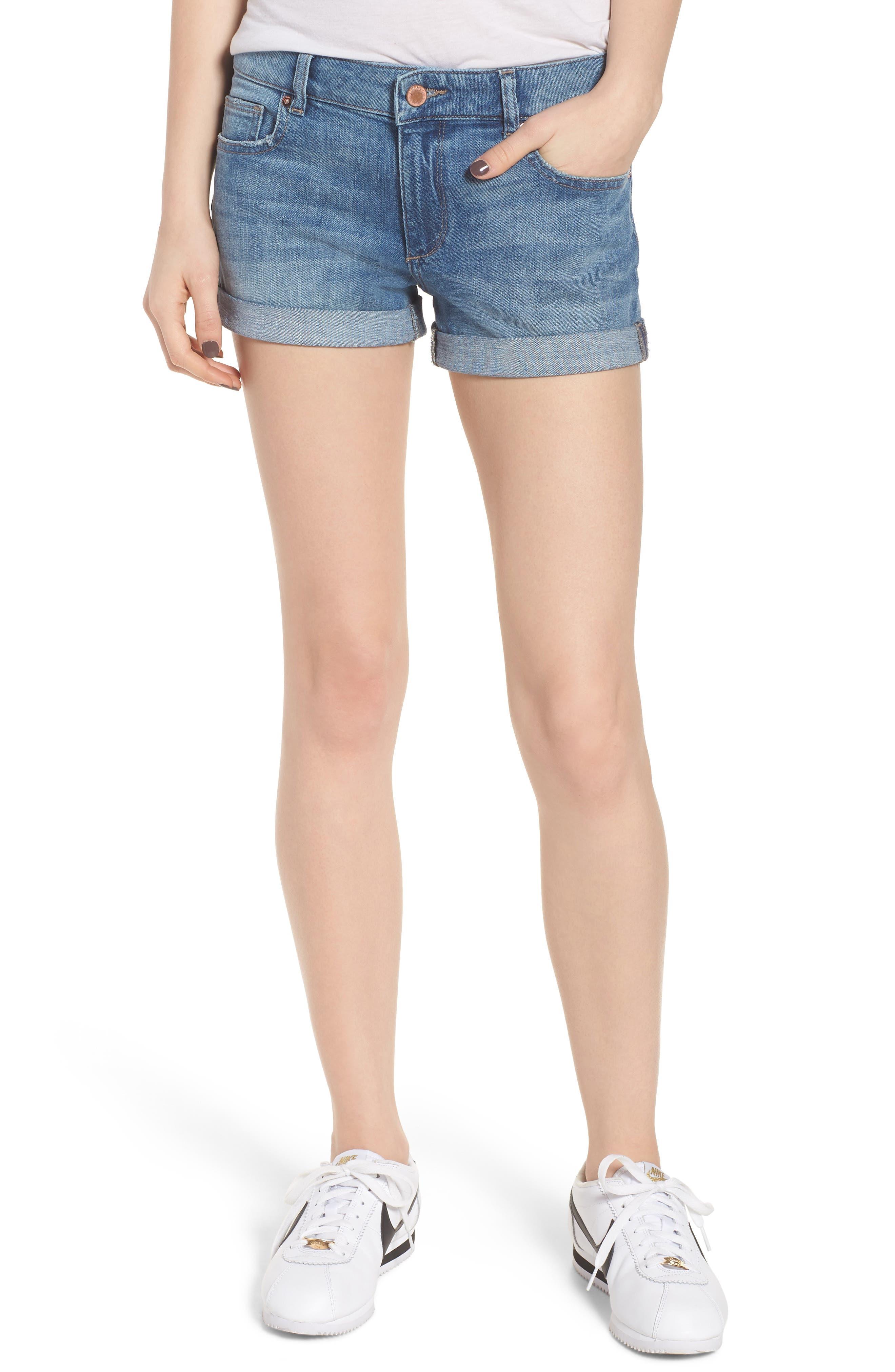 Renee Cuff Denim Shorts,                         Main,                         color, Somerset