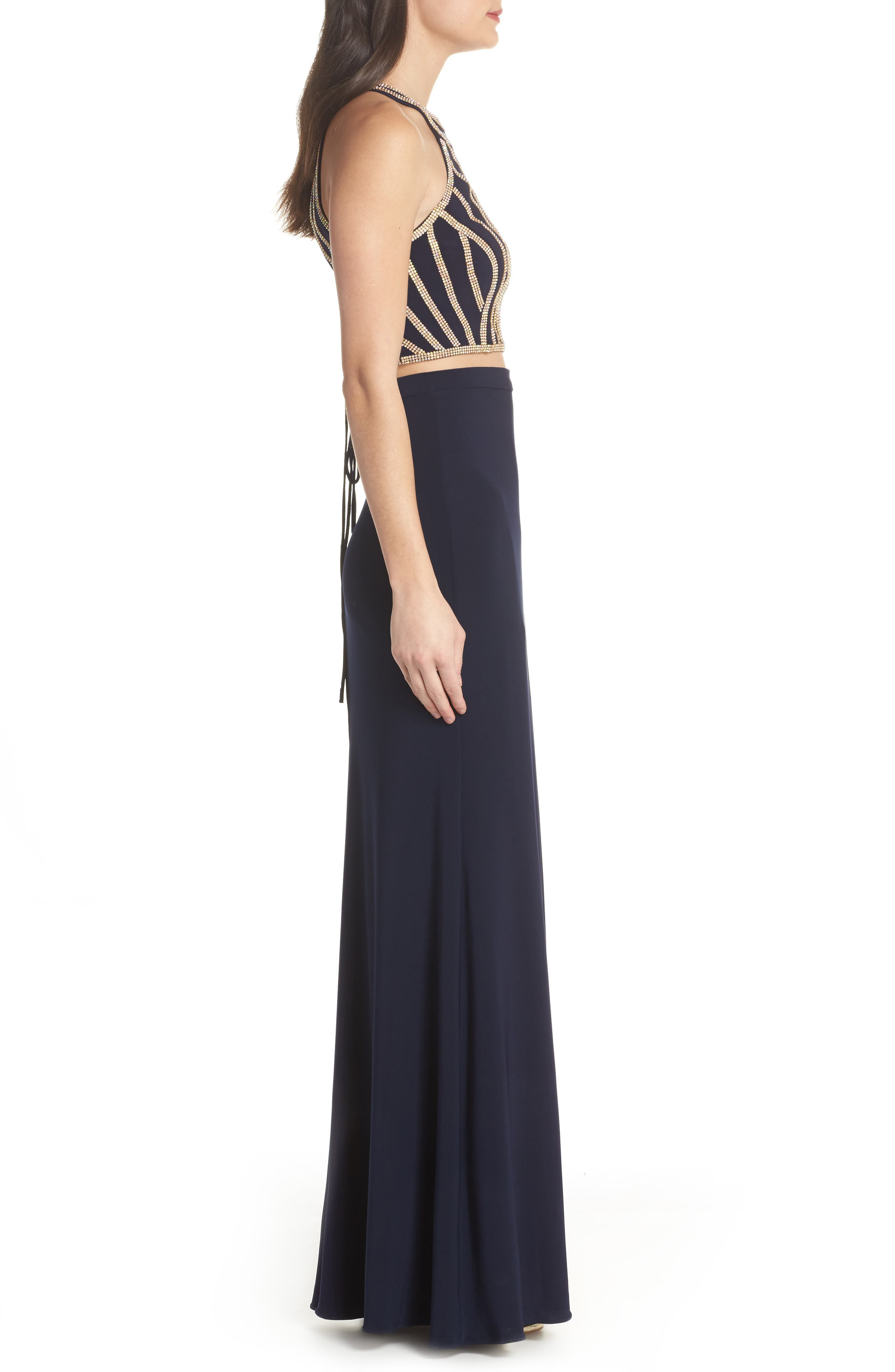 Beaded Top Two-Piece Dress,                             Alternate thumbnail 3, color,                             Navy/ Gold