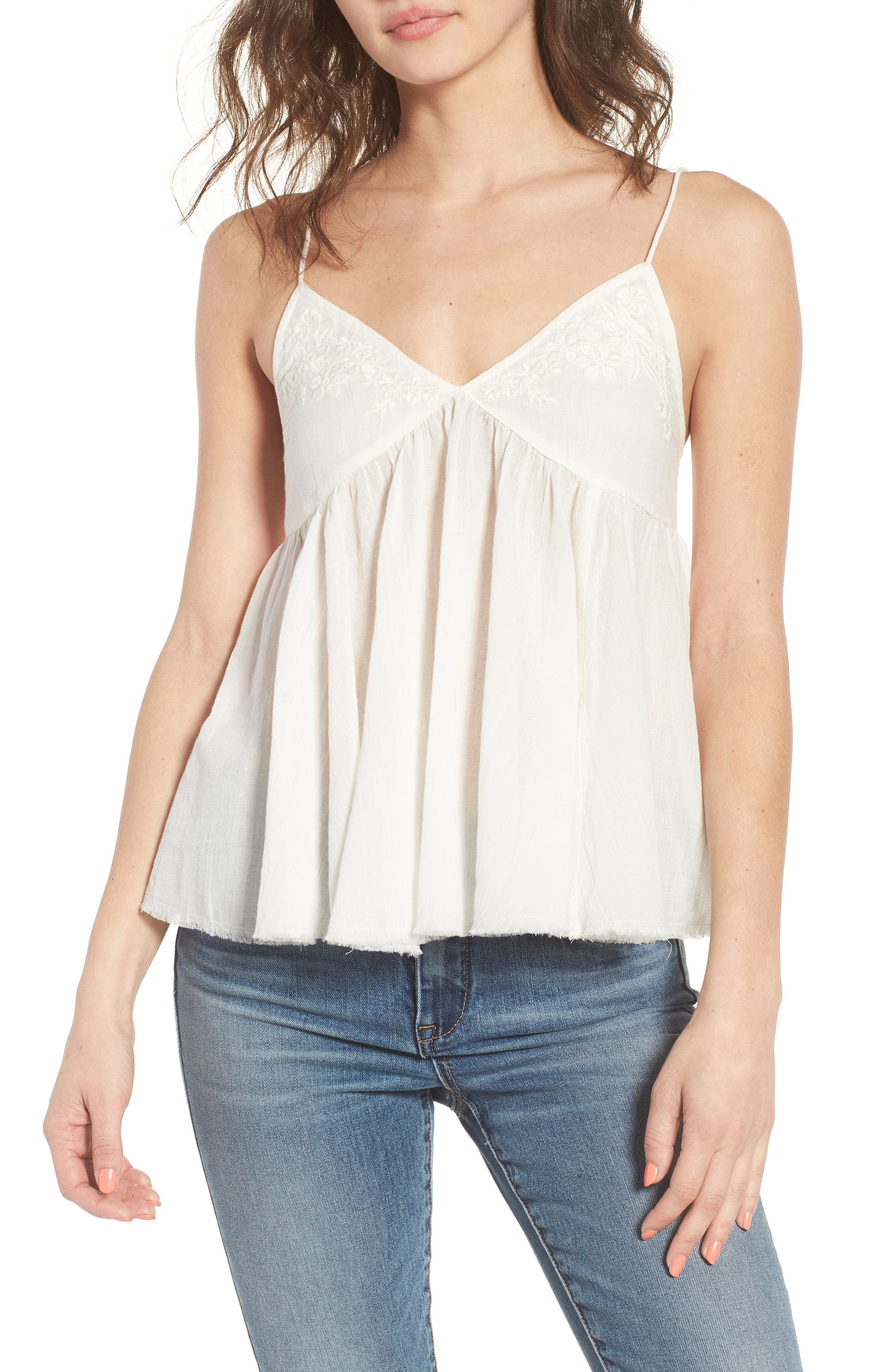 Embroidered Babydoll Tank,                         Main,                         color, Ivory Egret