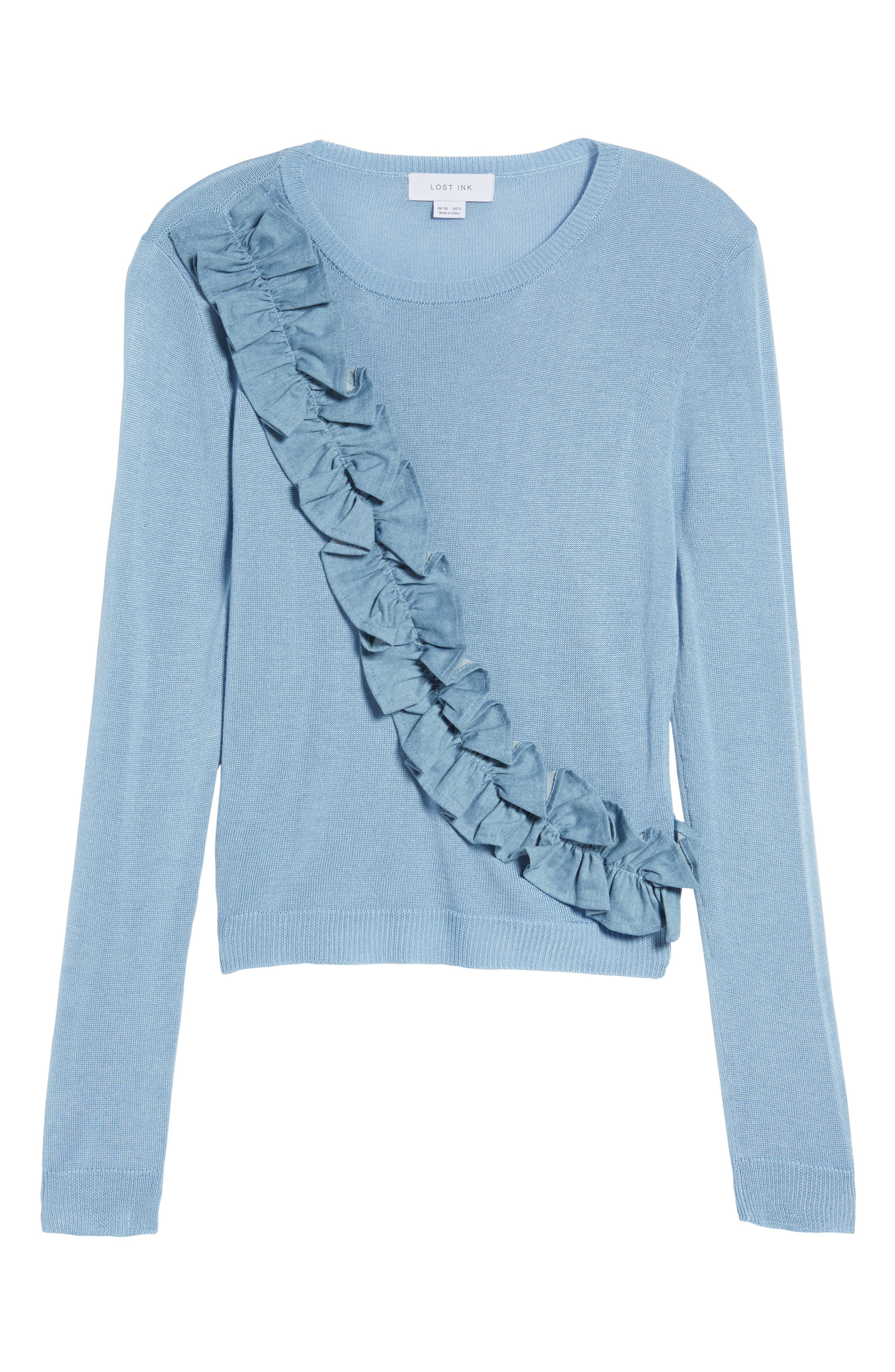 Asymmetrical Ruffle Sweater,                             Alternate thumbnail 7, color,                             Blue