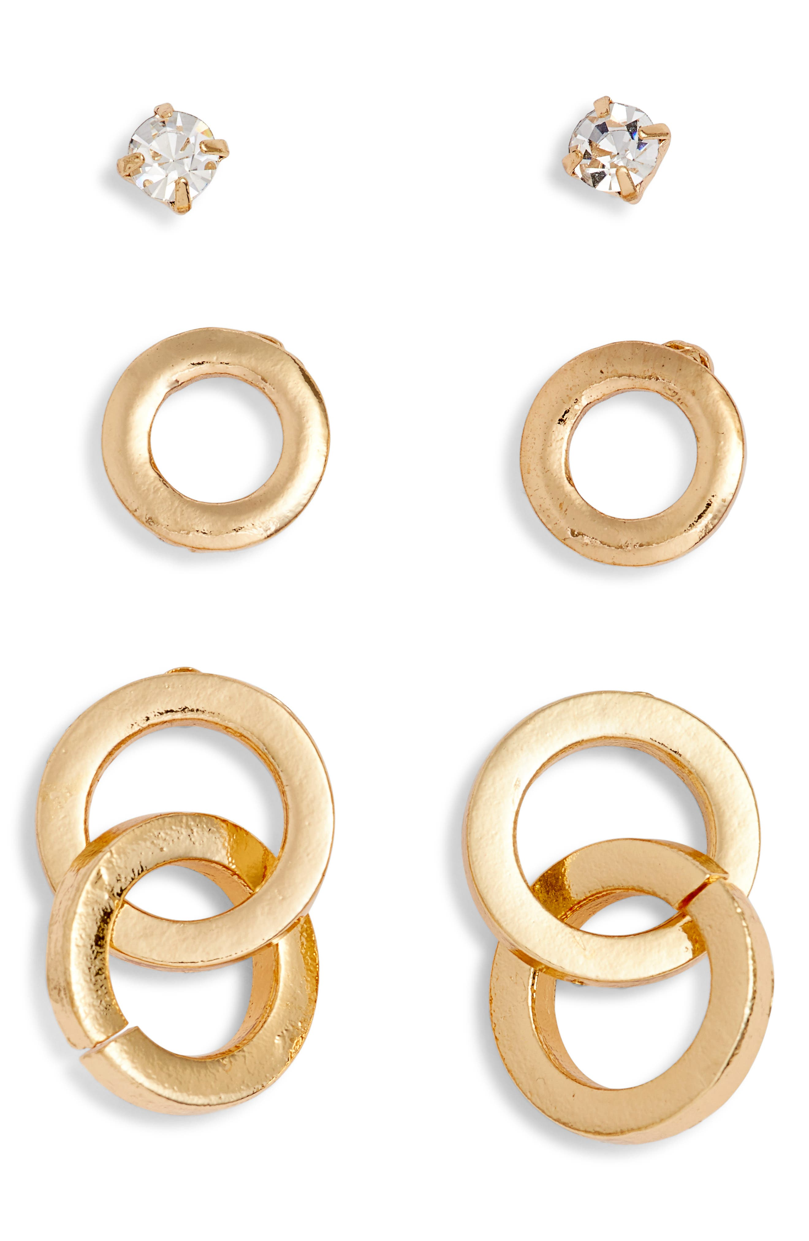 Circle 3-Pack Assorted Earrings,                             Main thumbnail 1, color,                             Gold