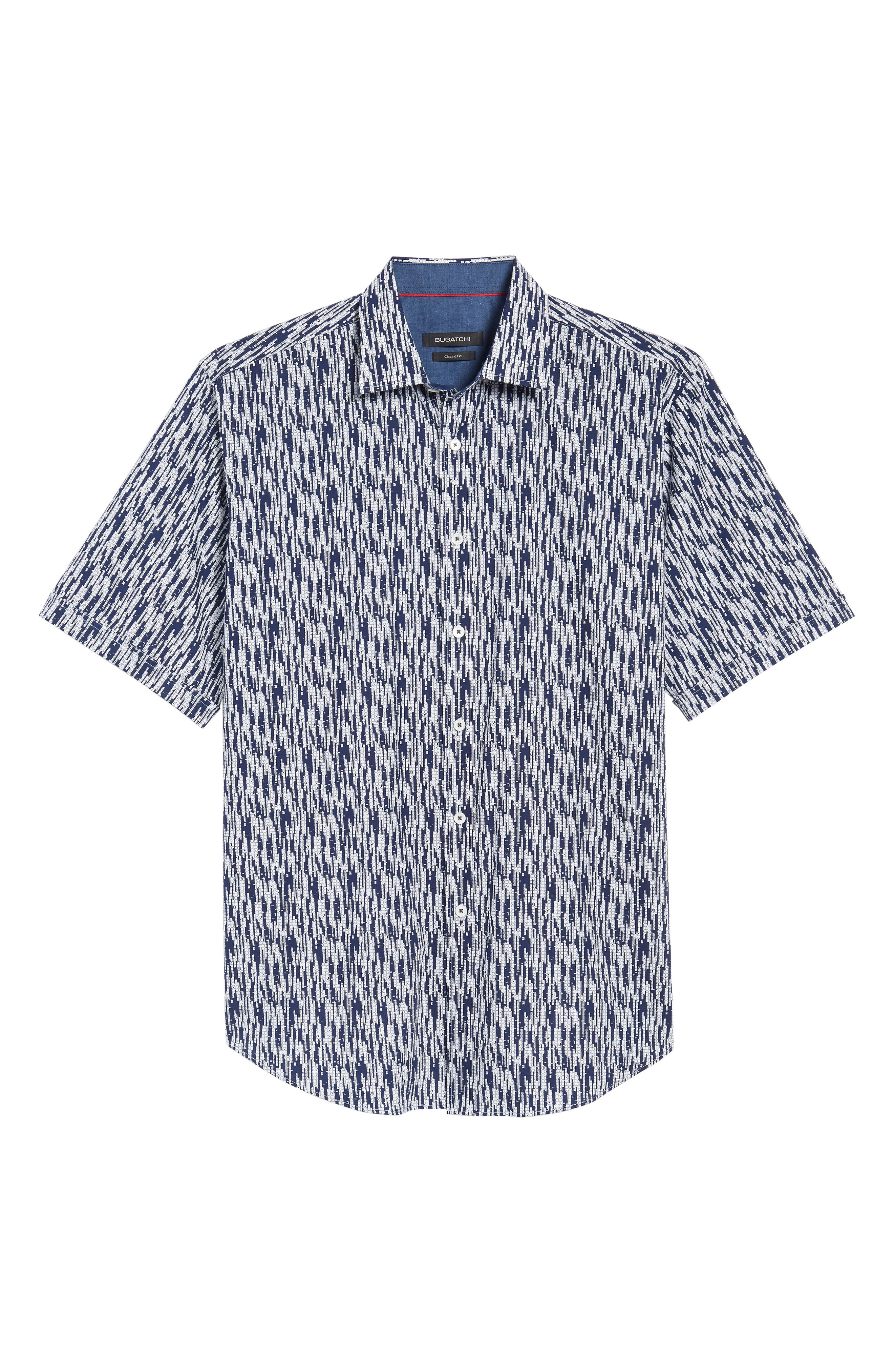 Classic Fit Dots Circles & Spaces Sport Shirt,                             Alternate thumbnail 6, color,                             Navy