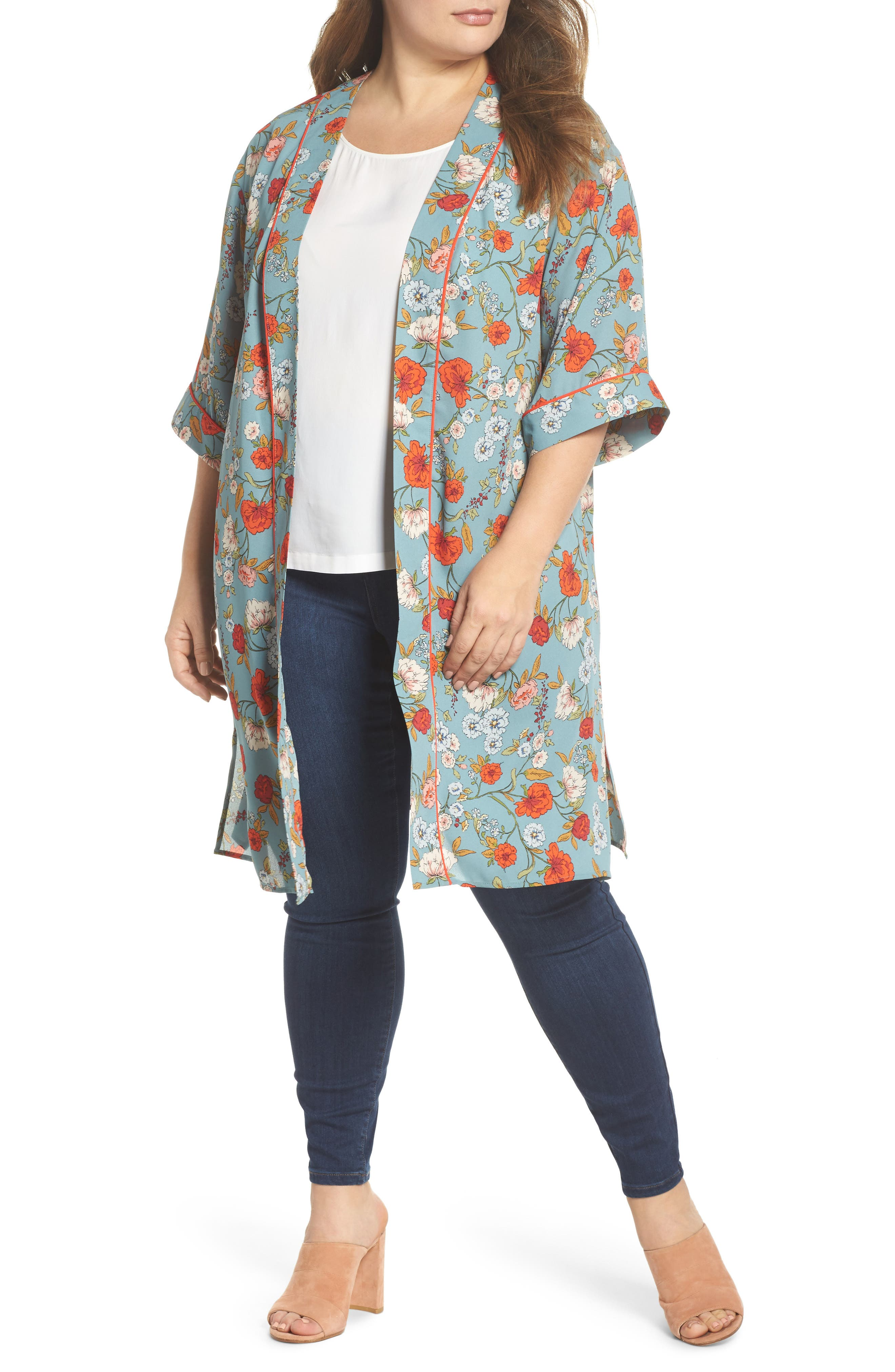 Floral Kimono,                             Main thumbnail 1, color,                             D598n Basil