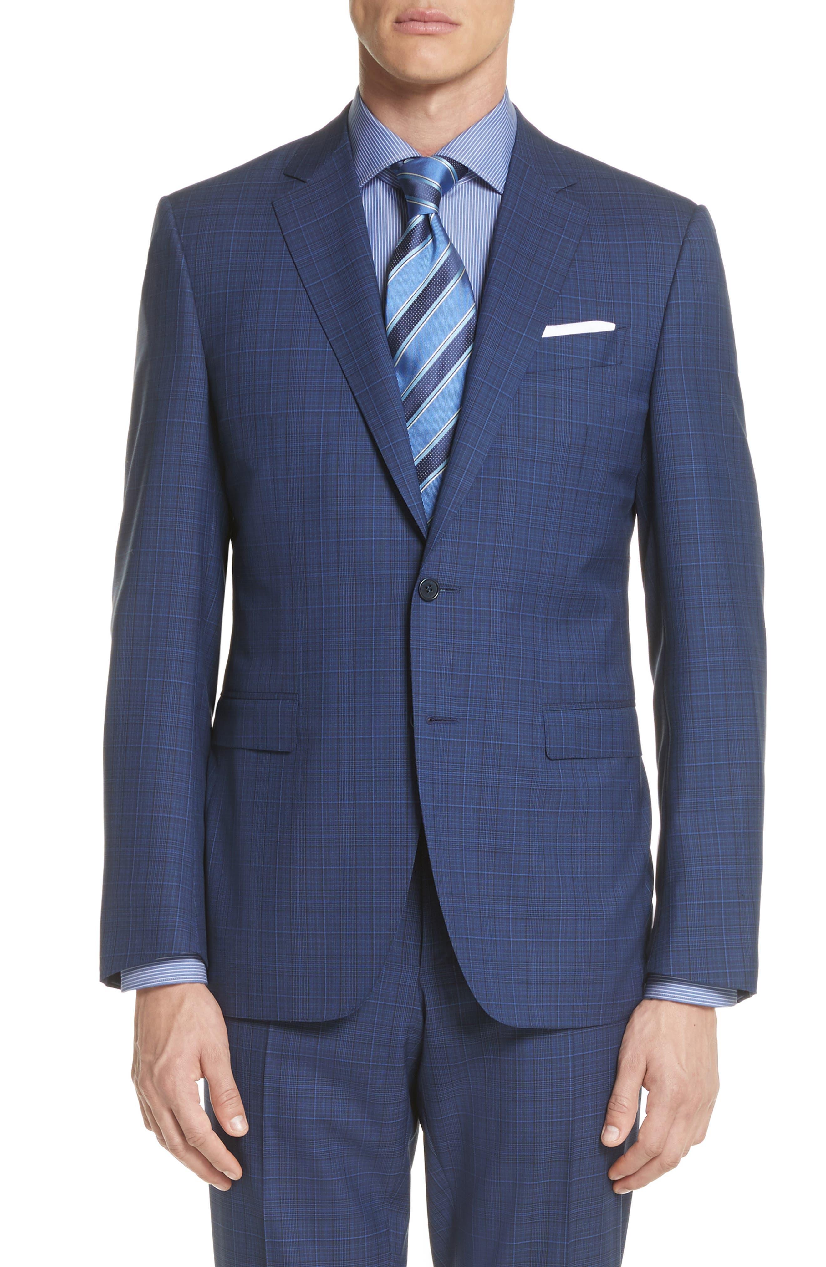 Classic Fit Tonal Plaid Wool Suit,                             Alternate thumbnail 5, color,                             Blue