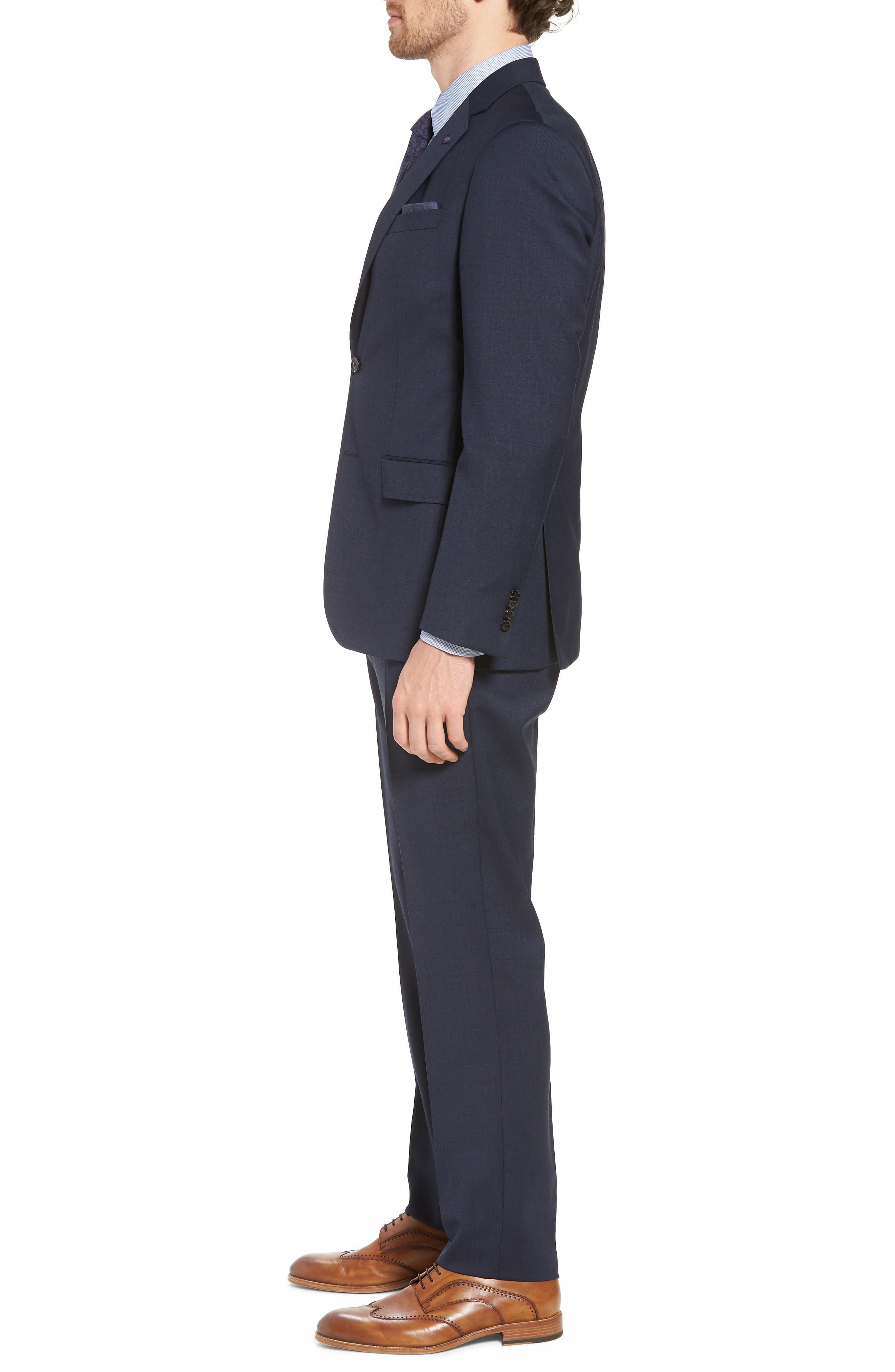 Jay Trim Fit Solid Wool Suit,                             Alternate thumbnail 3, color,                             Navy