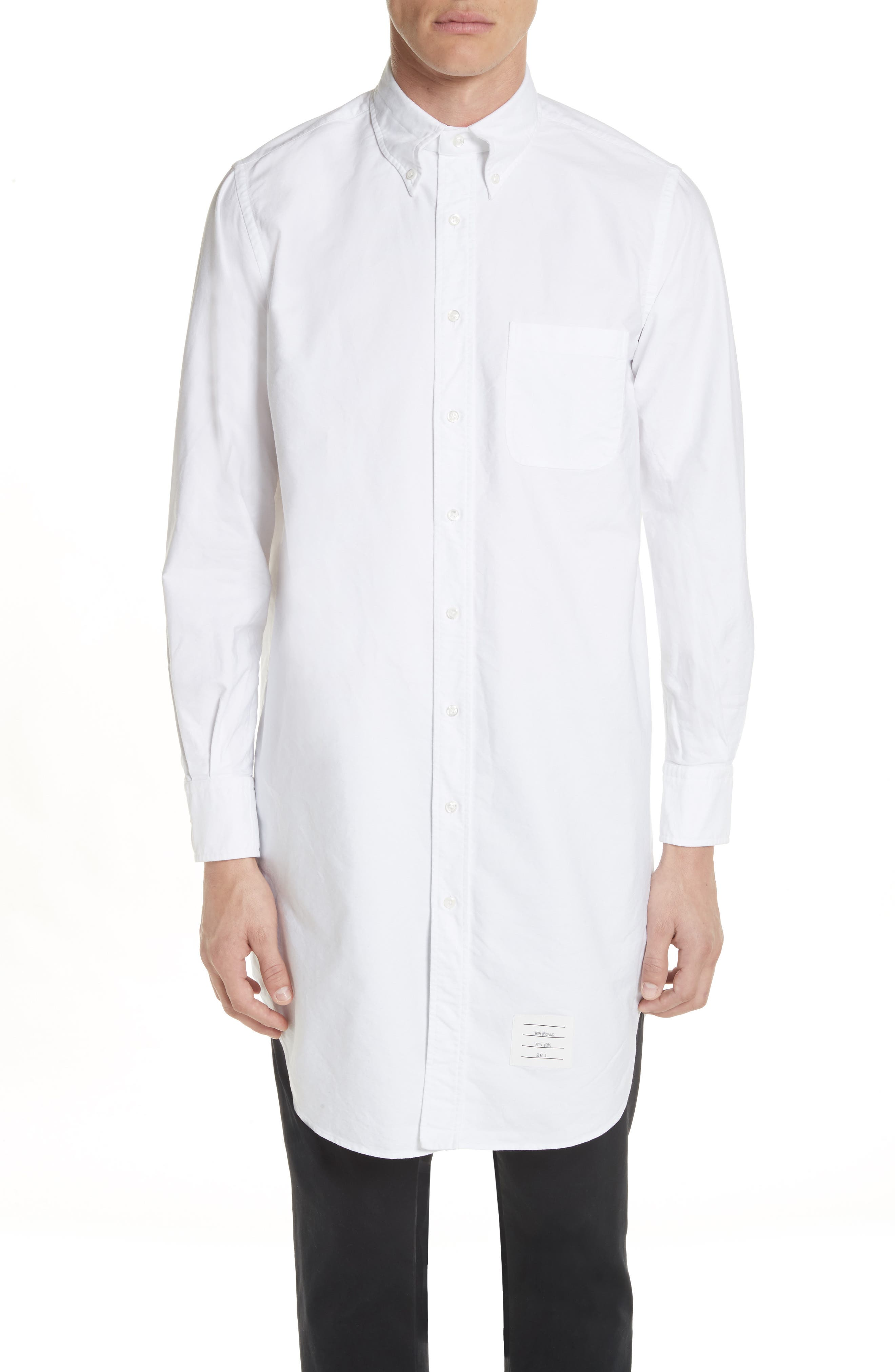 Elongated Woven Shirt,                         Main,                         color, White