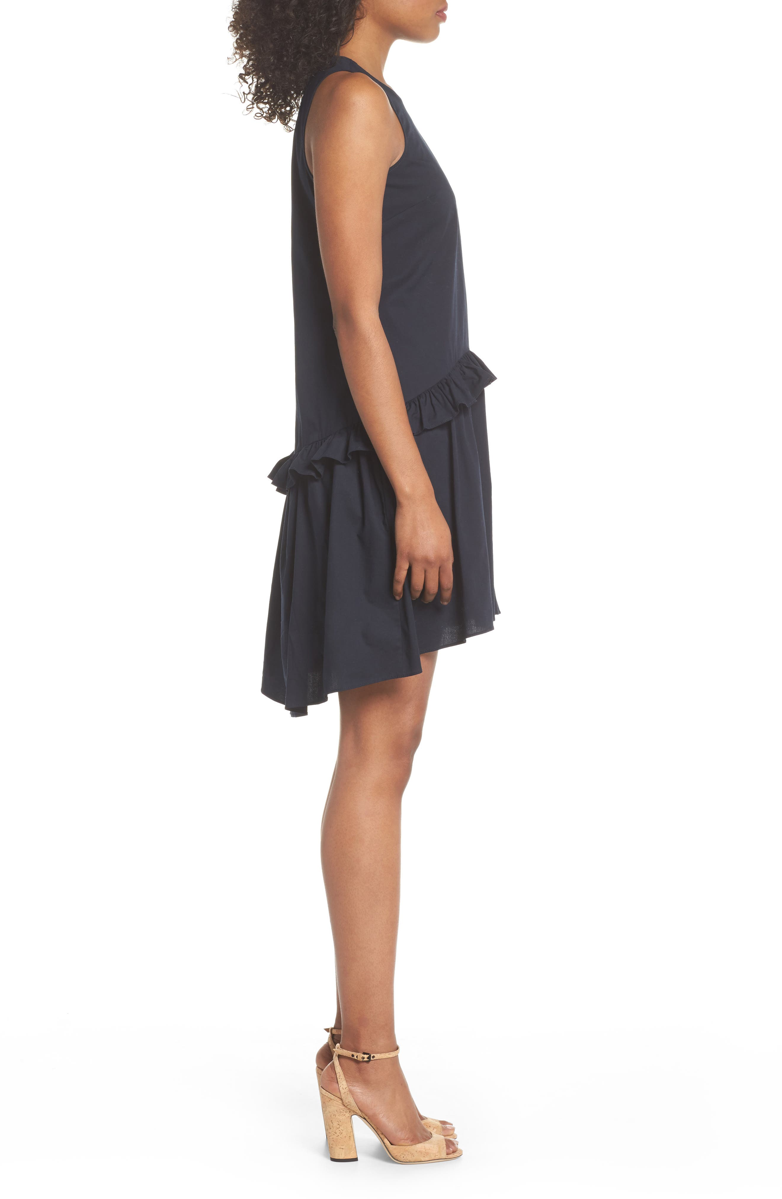 Sleeveless Ruffle High/Low Dress,                             Alternate thumbnail 3, color,                             Dark Navy