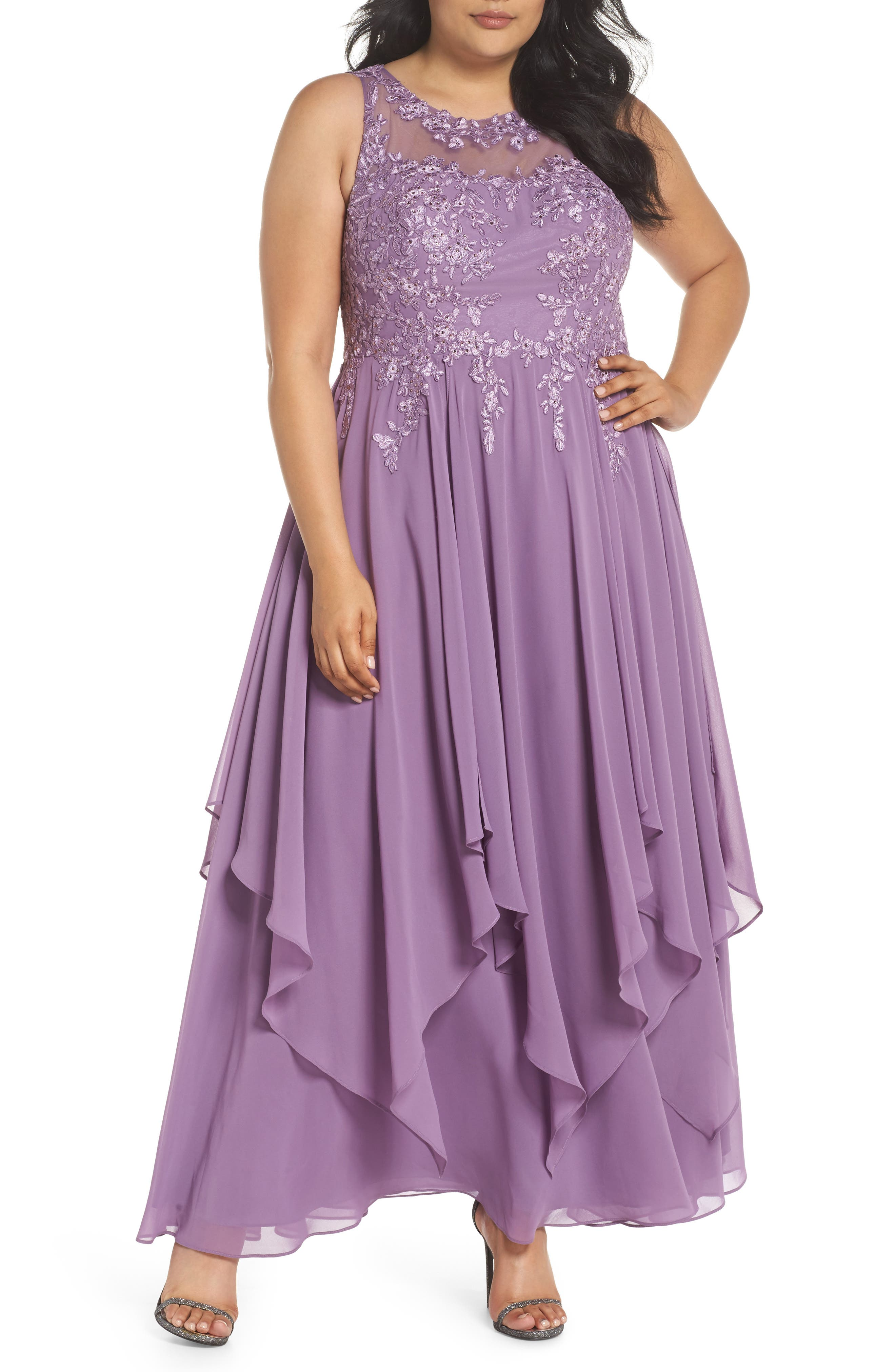 Embroidered Handkerchief Hem Gown,                             Main thumbnail 1, color,                             Lavender