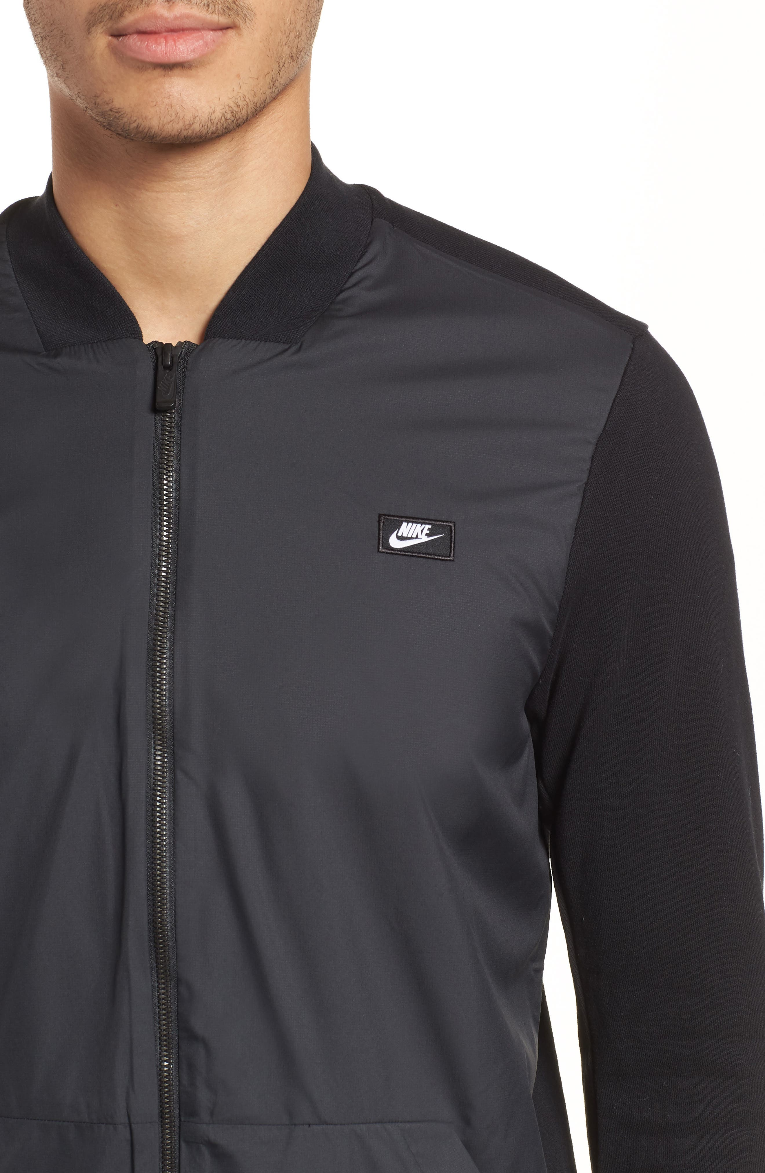 NSW Modern Track Jacket,                             Alternate thumbnail 3, color,                             Black/ Black