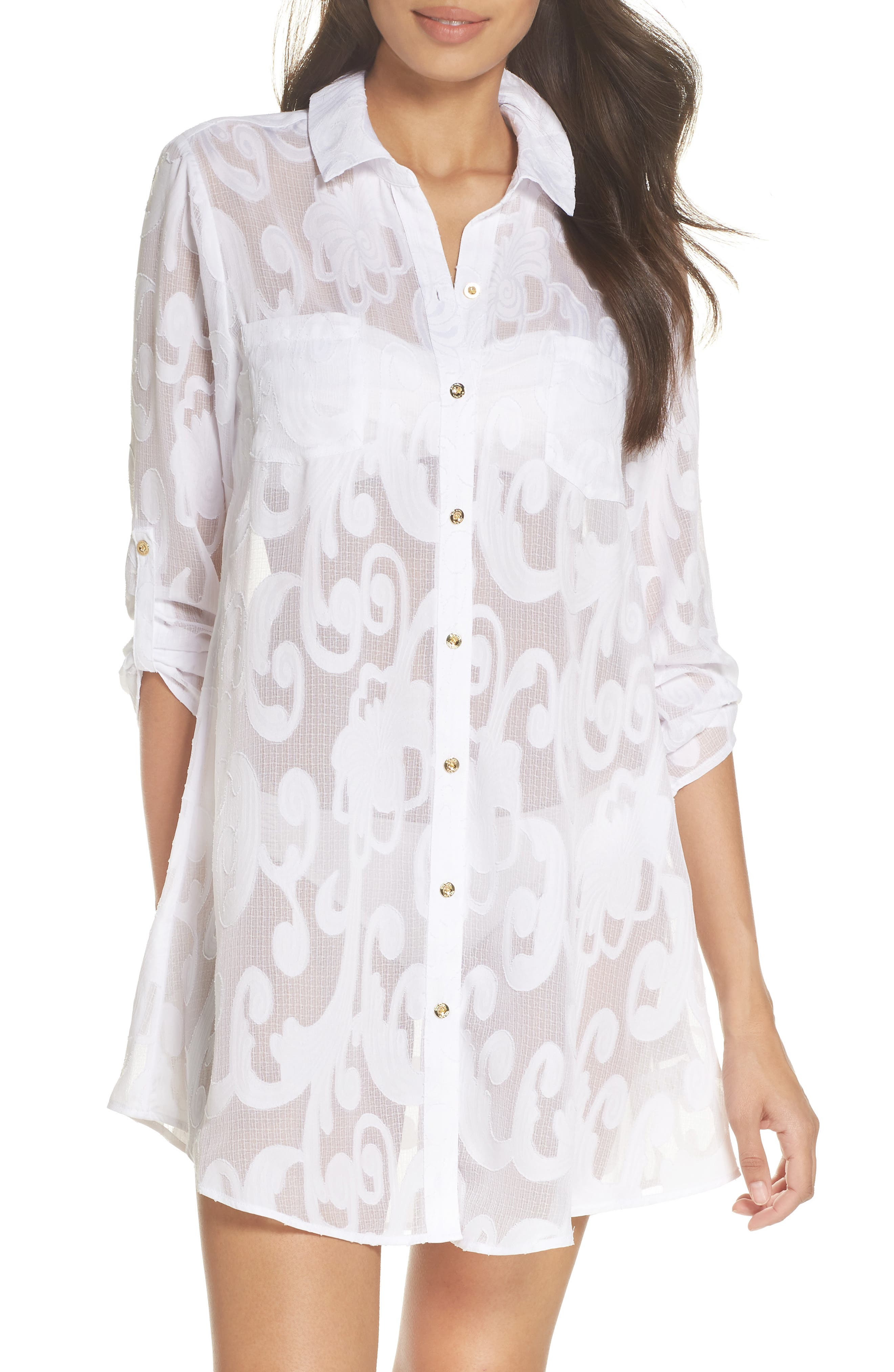 Natalie Shirtdress Cover-Up,                             Main thumbnail 1, color,                             Resort White Poly Crepe Swirl
