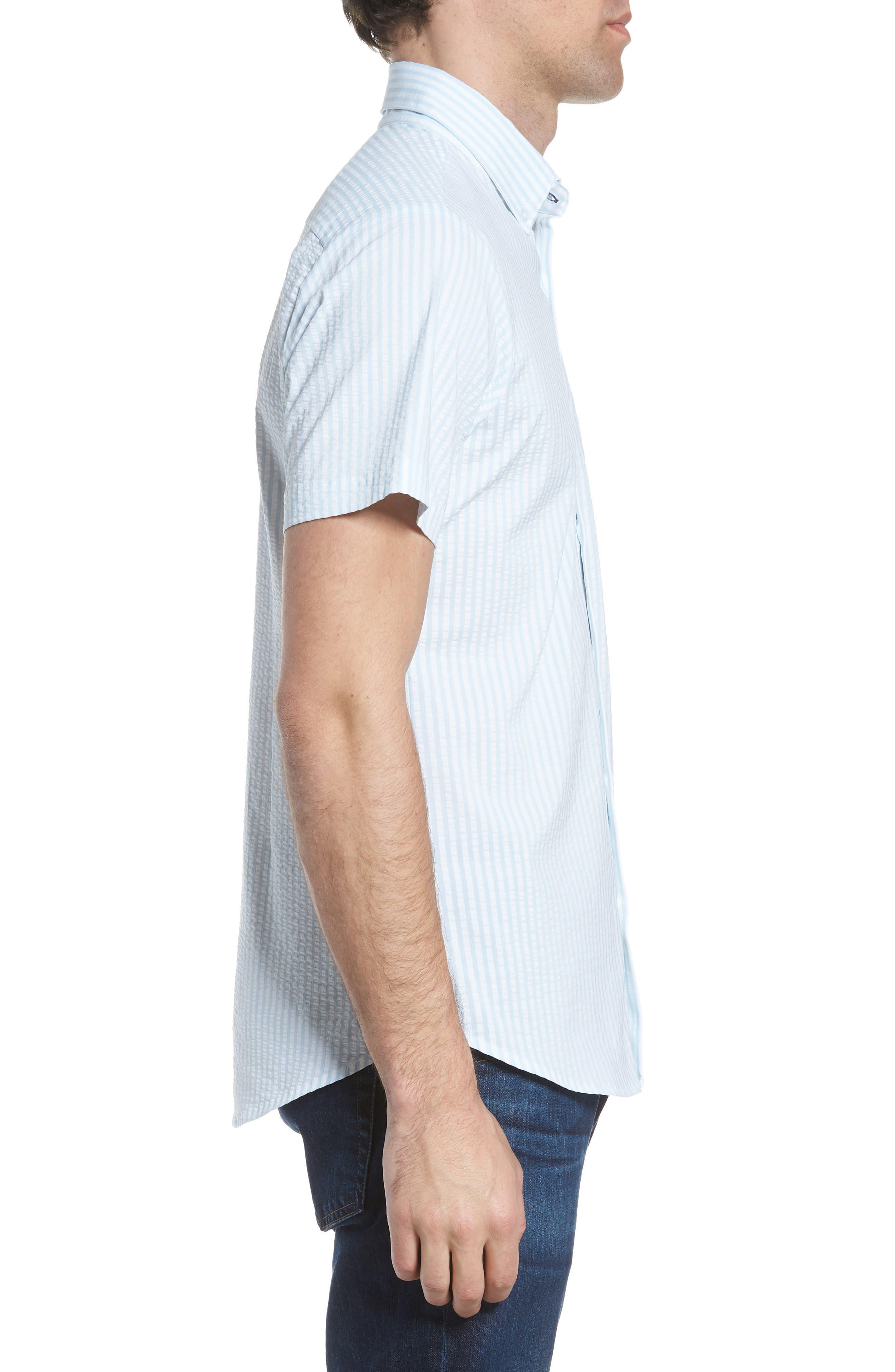 Hartley Seersucker Stripe Performance Sport Shirt,                             Alternate thumbnail 4, color,                             Blue