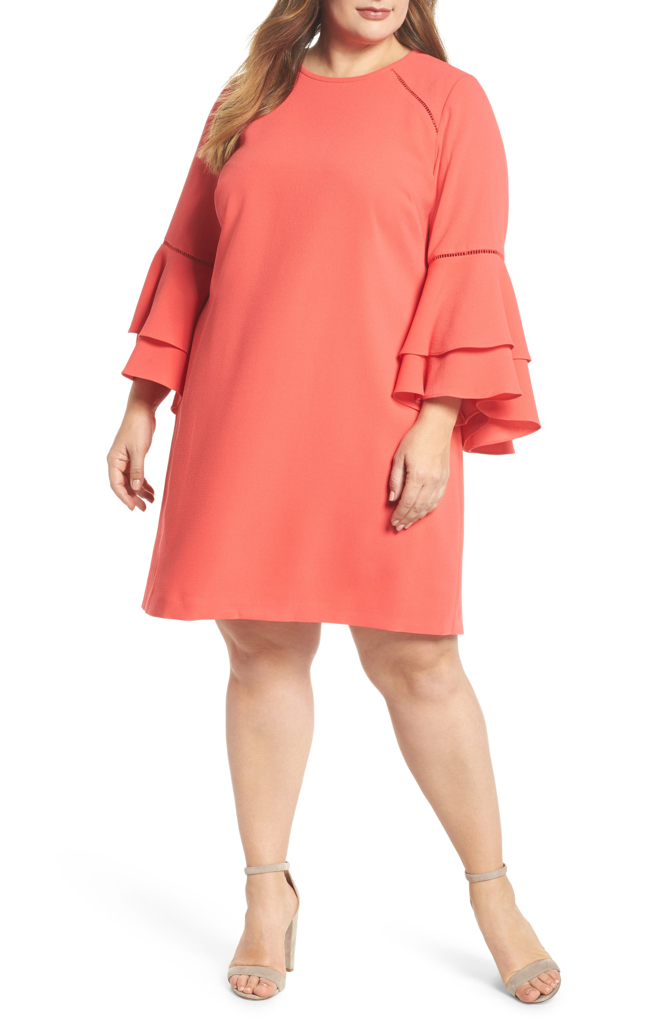 Ruffle Bell Sleeve Shift Dress,                         Main,                         color, Red Hibiscus
