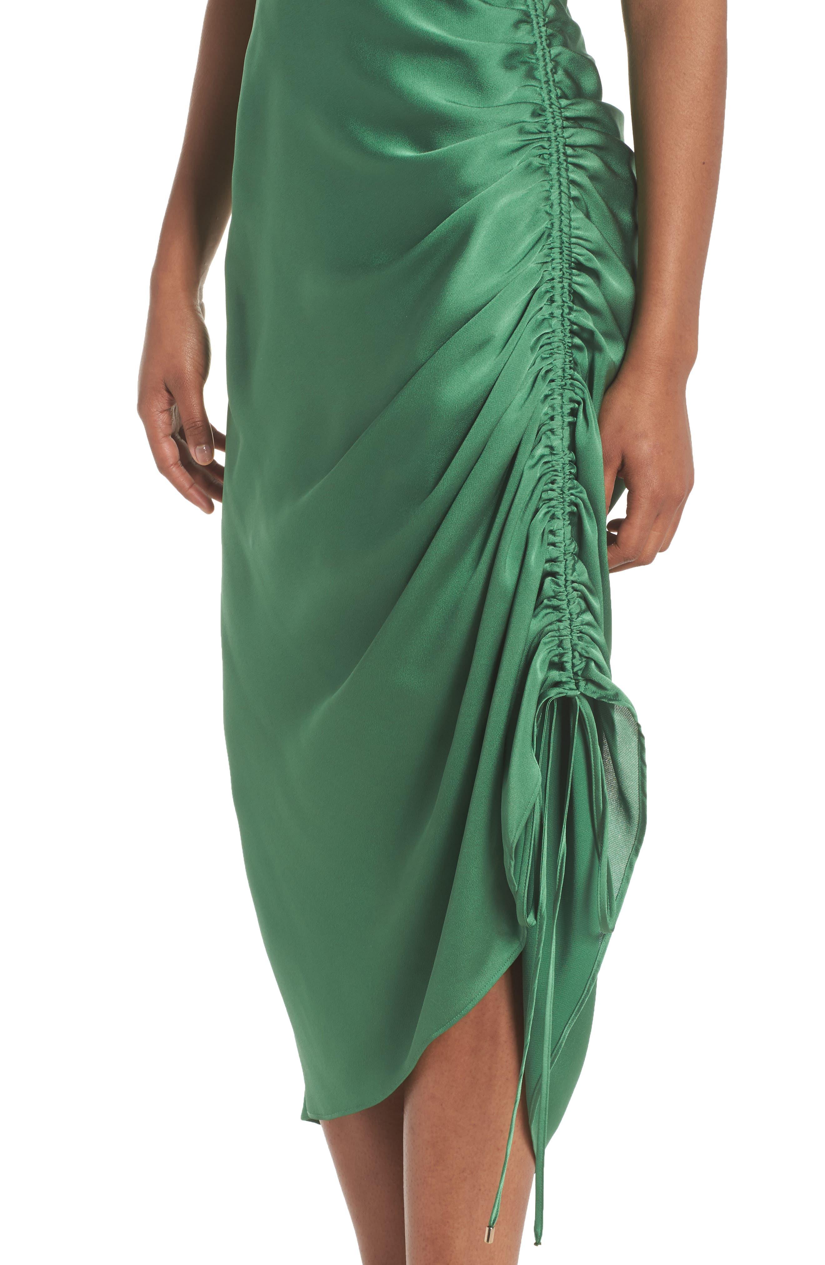 I've Got You Asymmetrical Satin Dress,                             Alternate thumbnail 4, color,                             Emerald Green