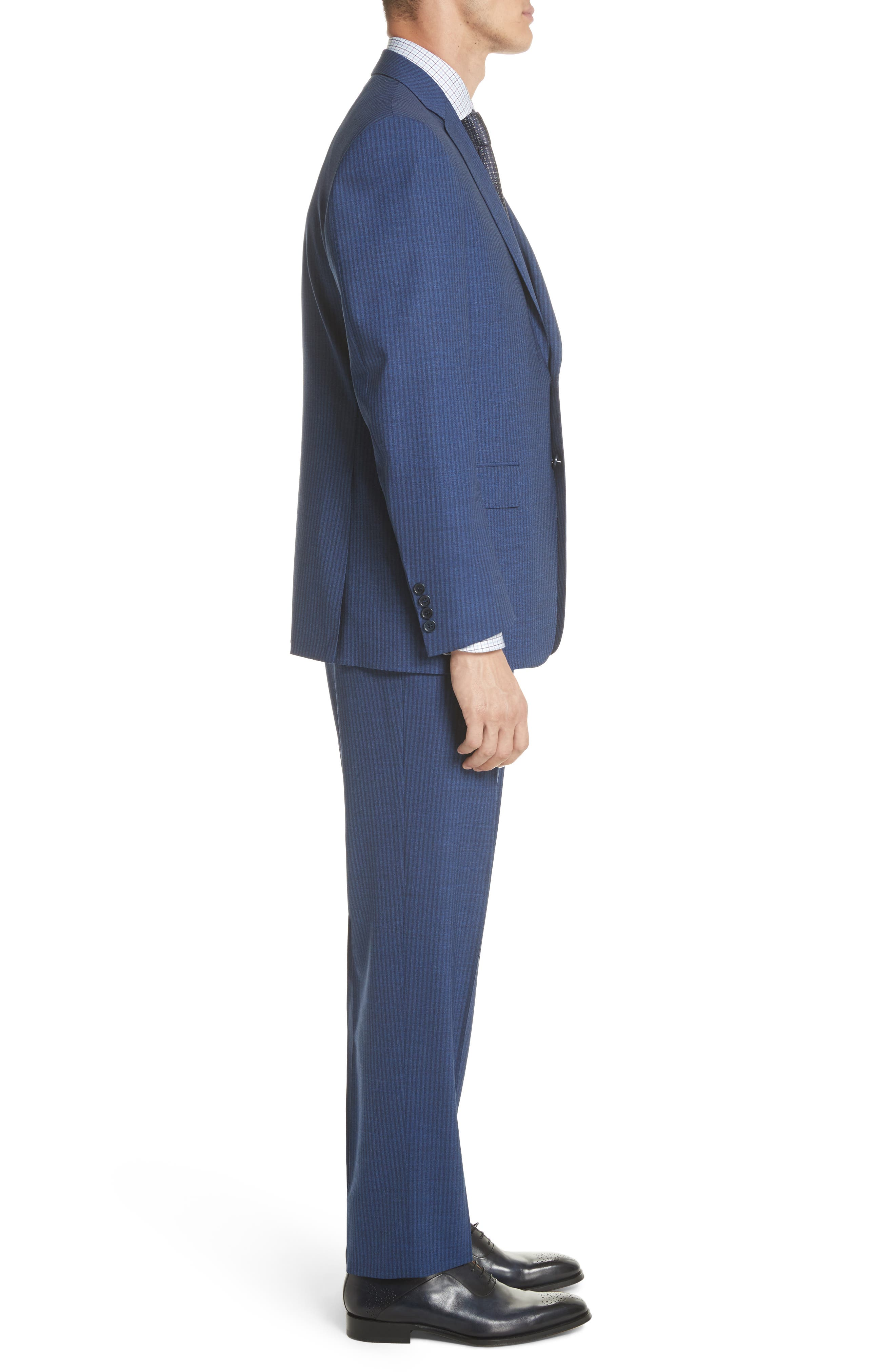Classic Fit Shadow Stripe Wool Suit,                             Alternate thumbnail 3, color,                             Navy
