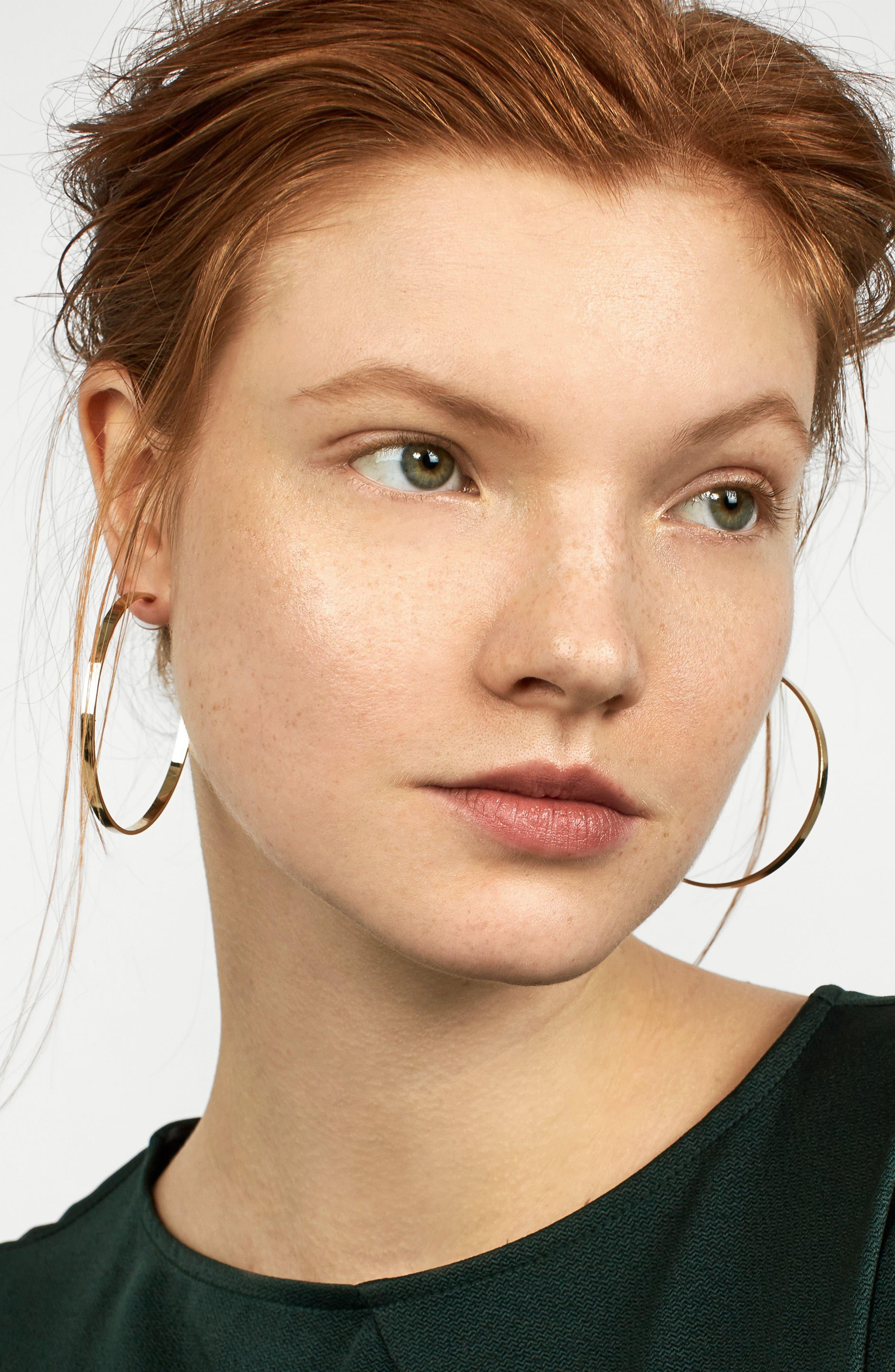 Thin Hoop Earrings,                             Alternate thumbnail 2, color,                             Gold