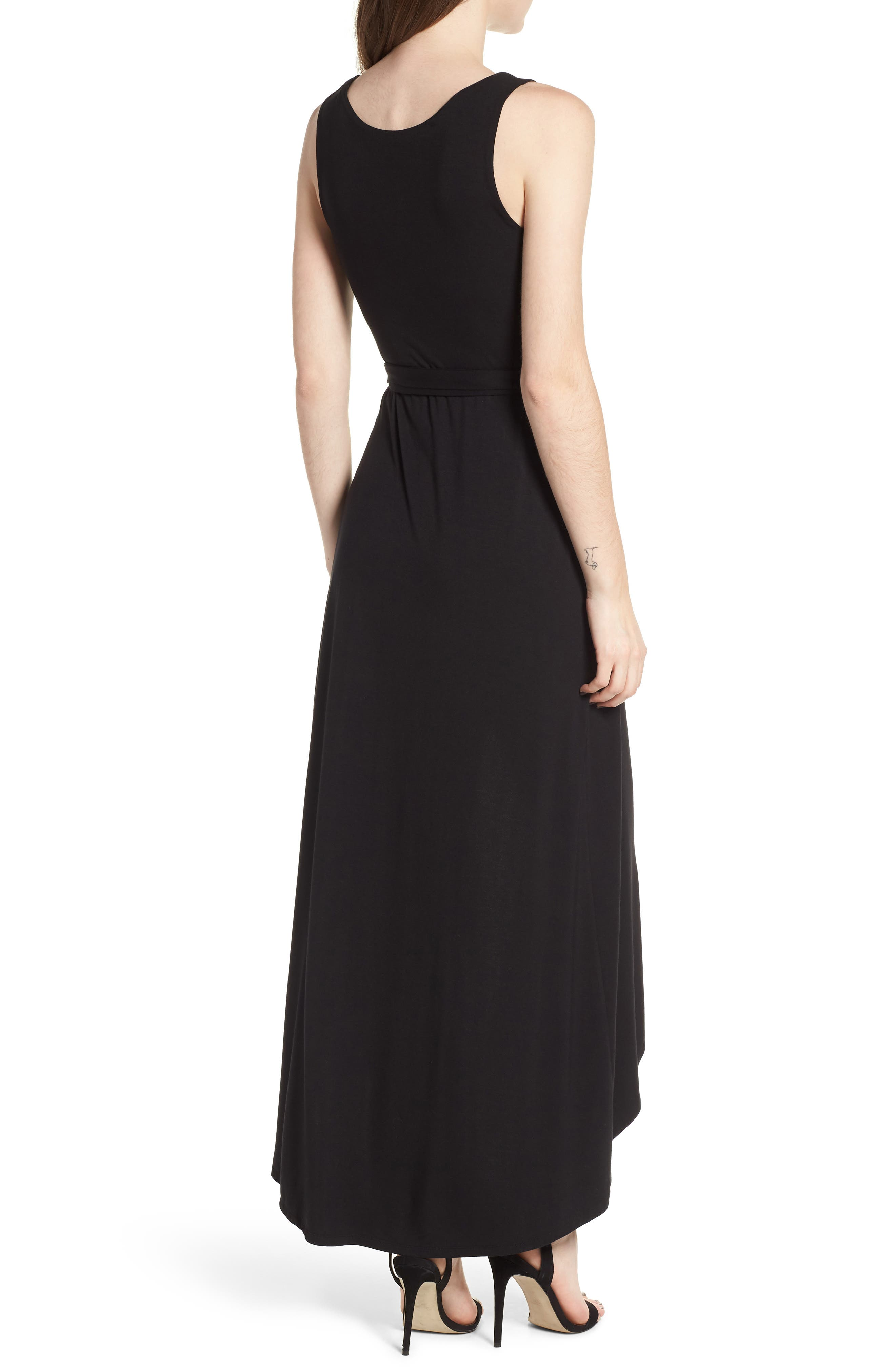 Knit Maxi Dress,                             Alternate thumbnail 2, color,                             Black