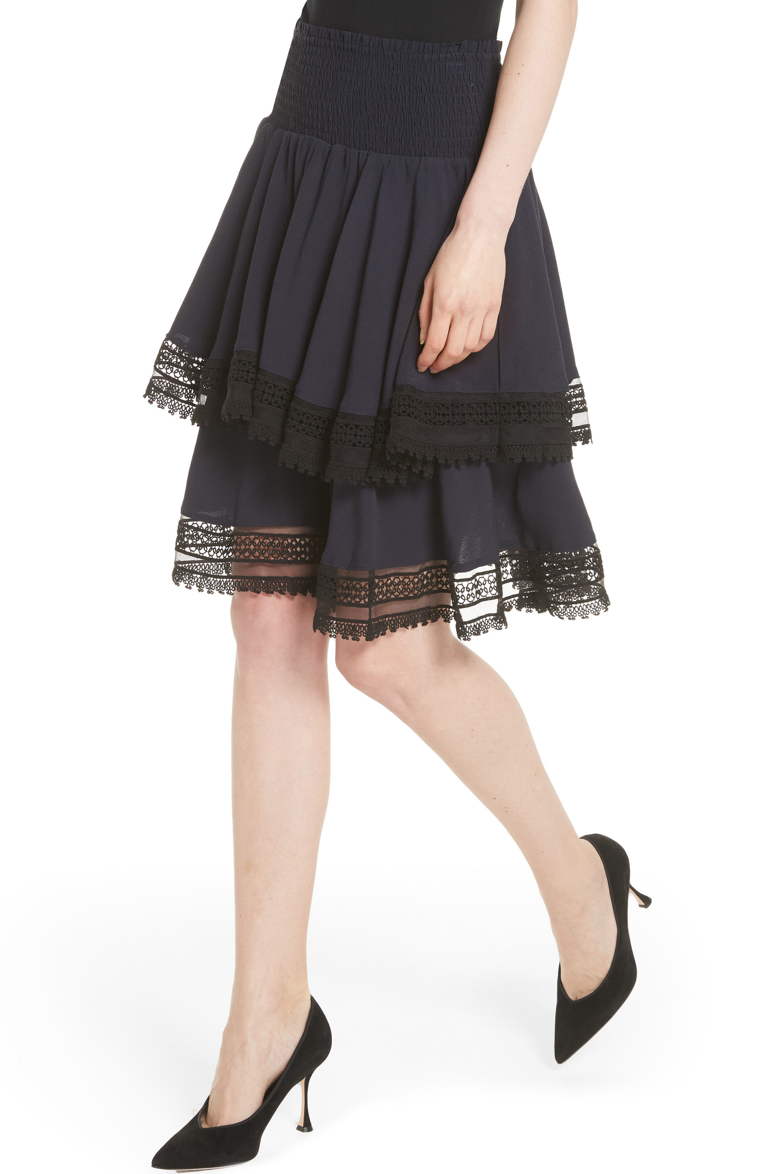 Jaglia Tiered Skirt,                             Alternate thumbnail 4, color,                             Navy