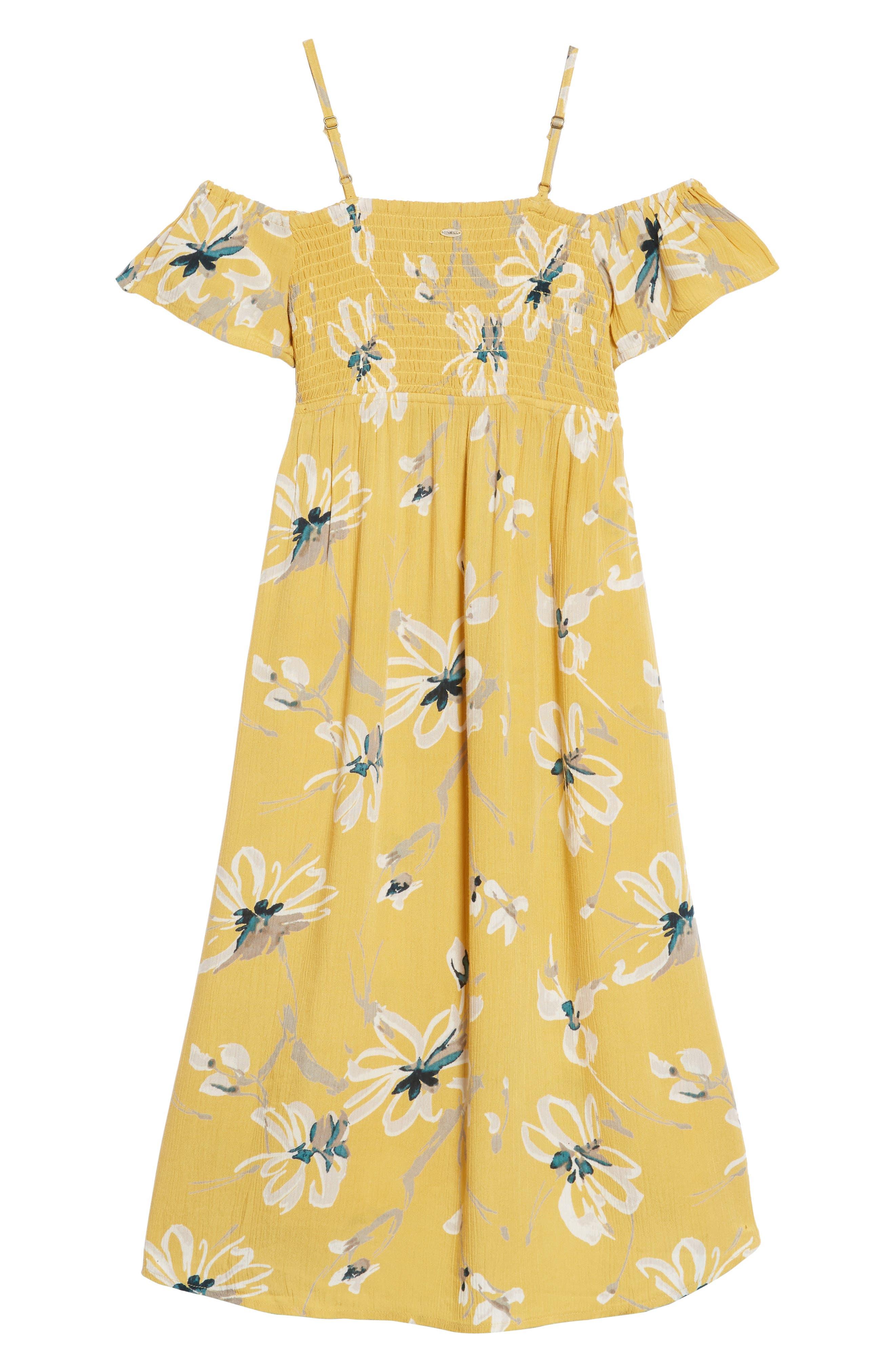 Vienna Cold Shoulder Dress,                             Alternate thumbnail 2, color,                             Goldie