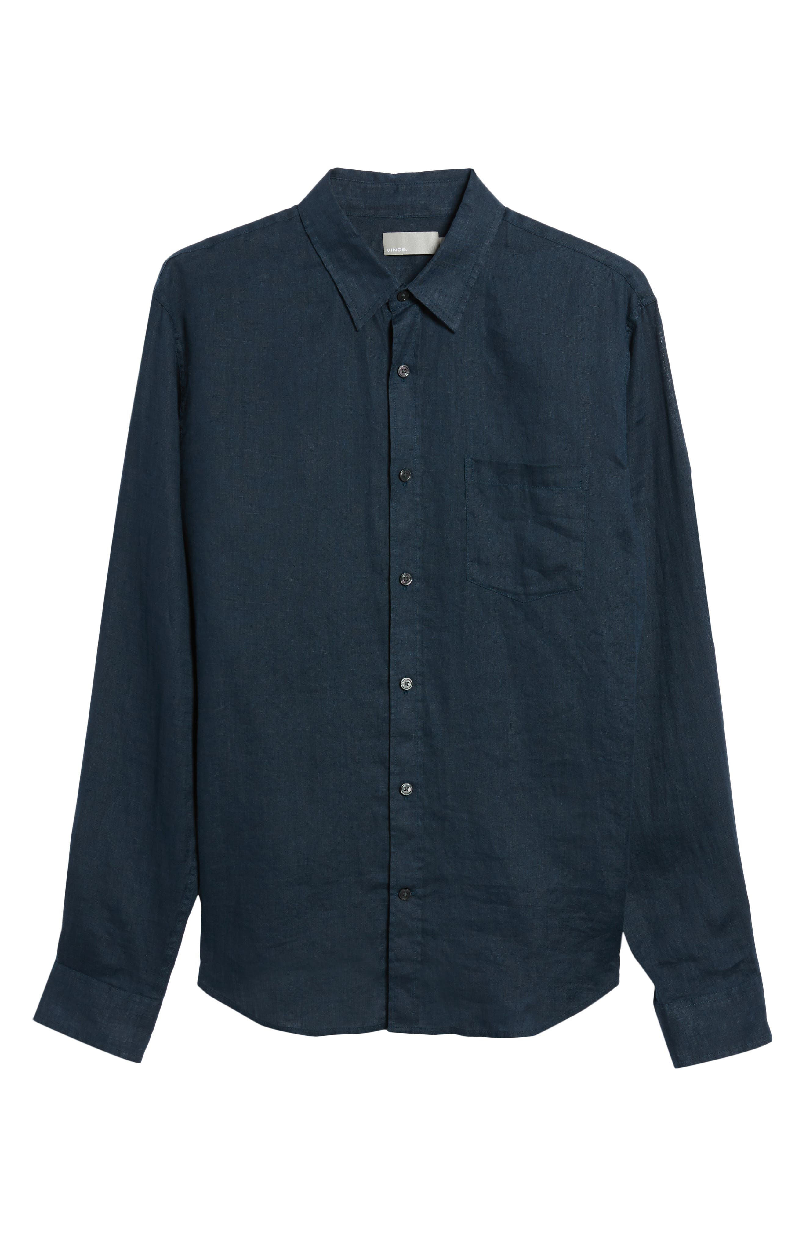 Washed Slim Fit Linen Sport Shirt,                             Alternate thumbnail 6, color,                             Mechanic Blue