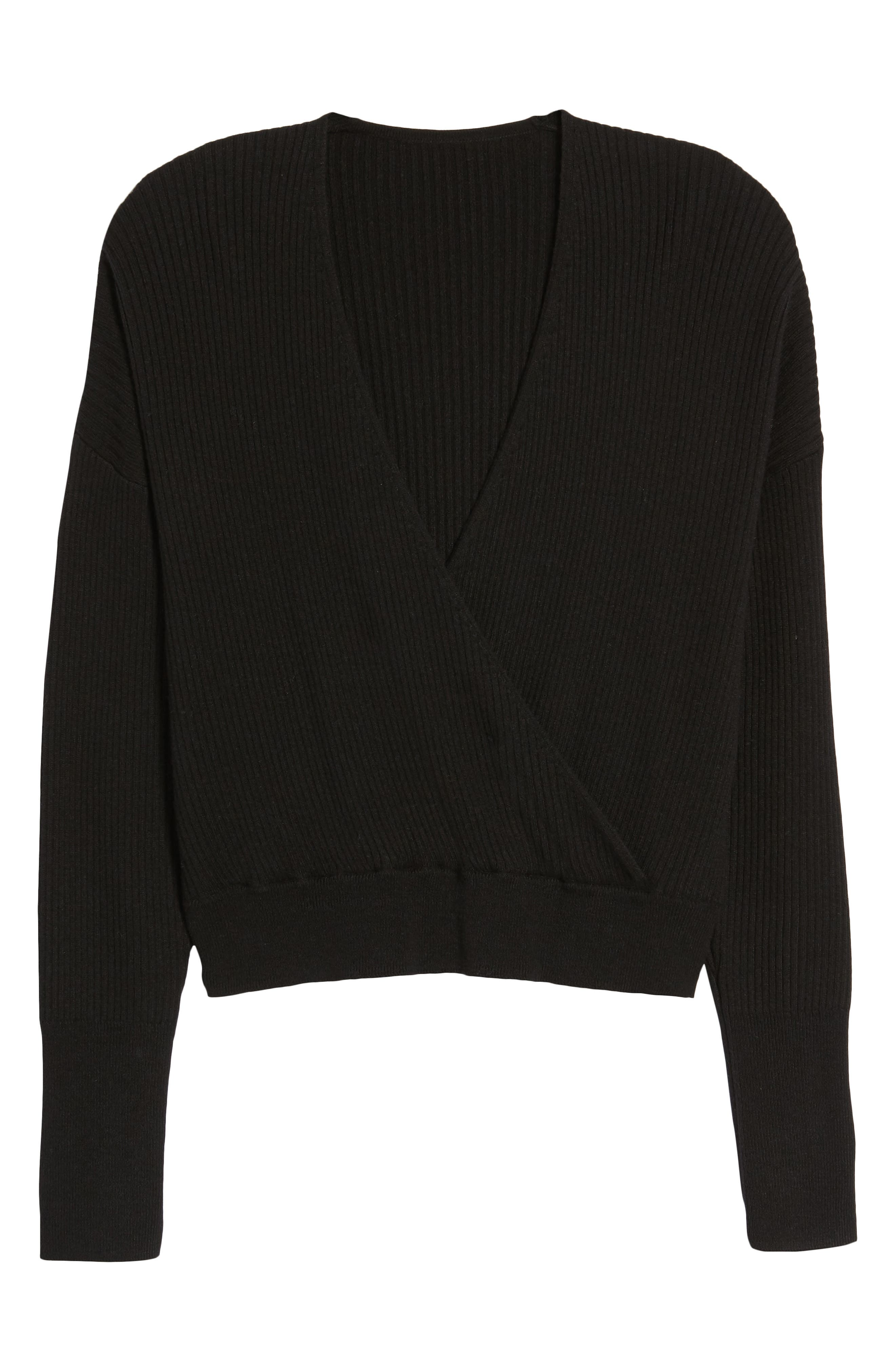 Rib Wrap Sweater,                             Alternate thumbnail 7, color,                             Black