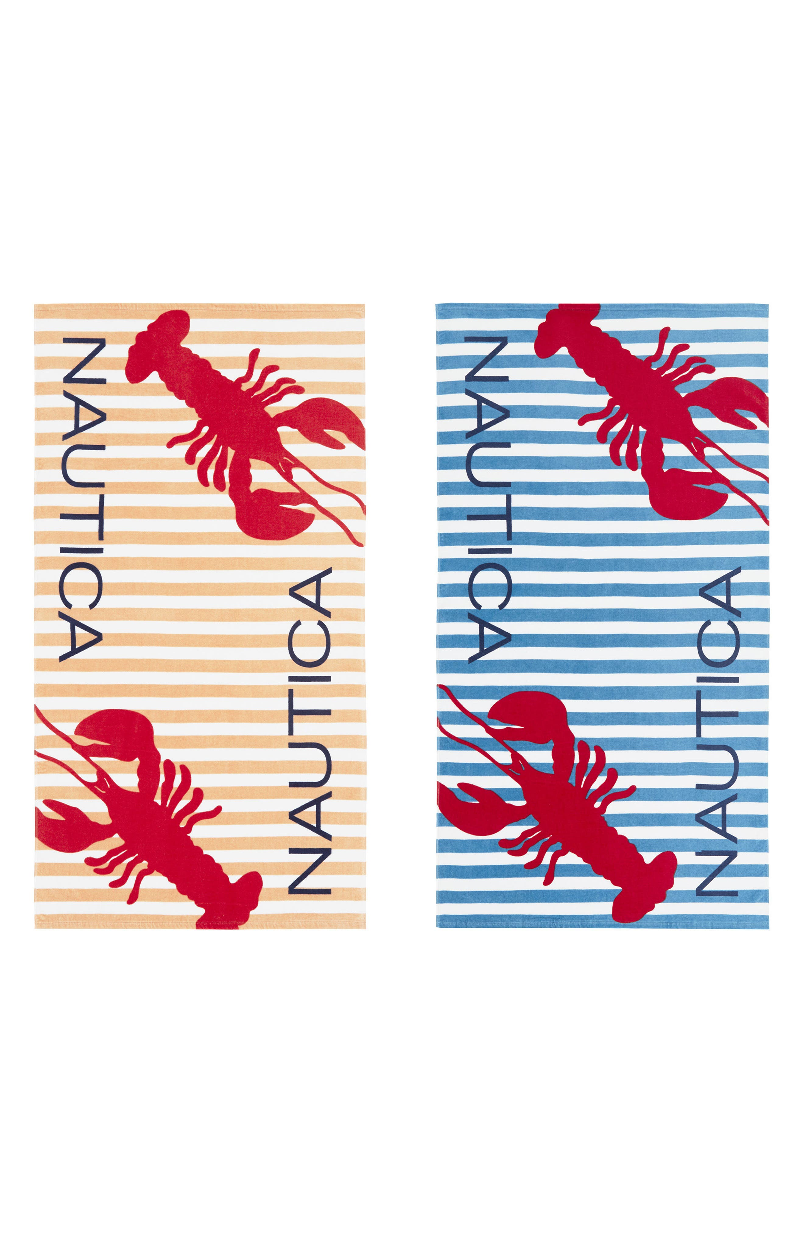 Twin Lobster Set of 2 Beach Towels,                         Main,                         color, Blue Multi