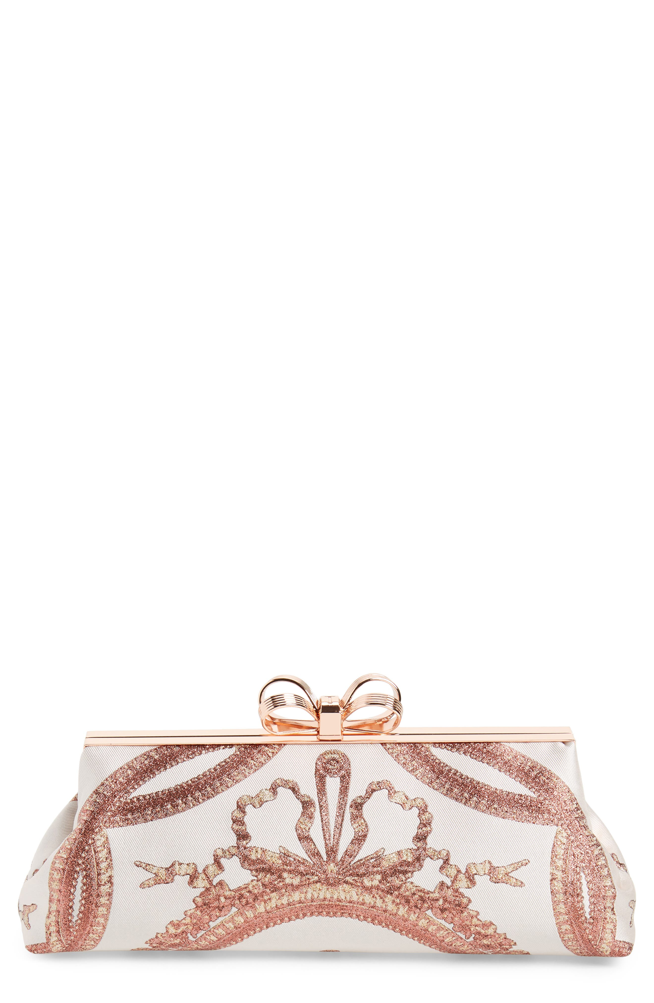 Ted Baker Karlii - Versailles Print Frame Clutch,                             Main thumbnail 1, color,                             Dusky Pink