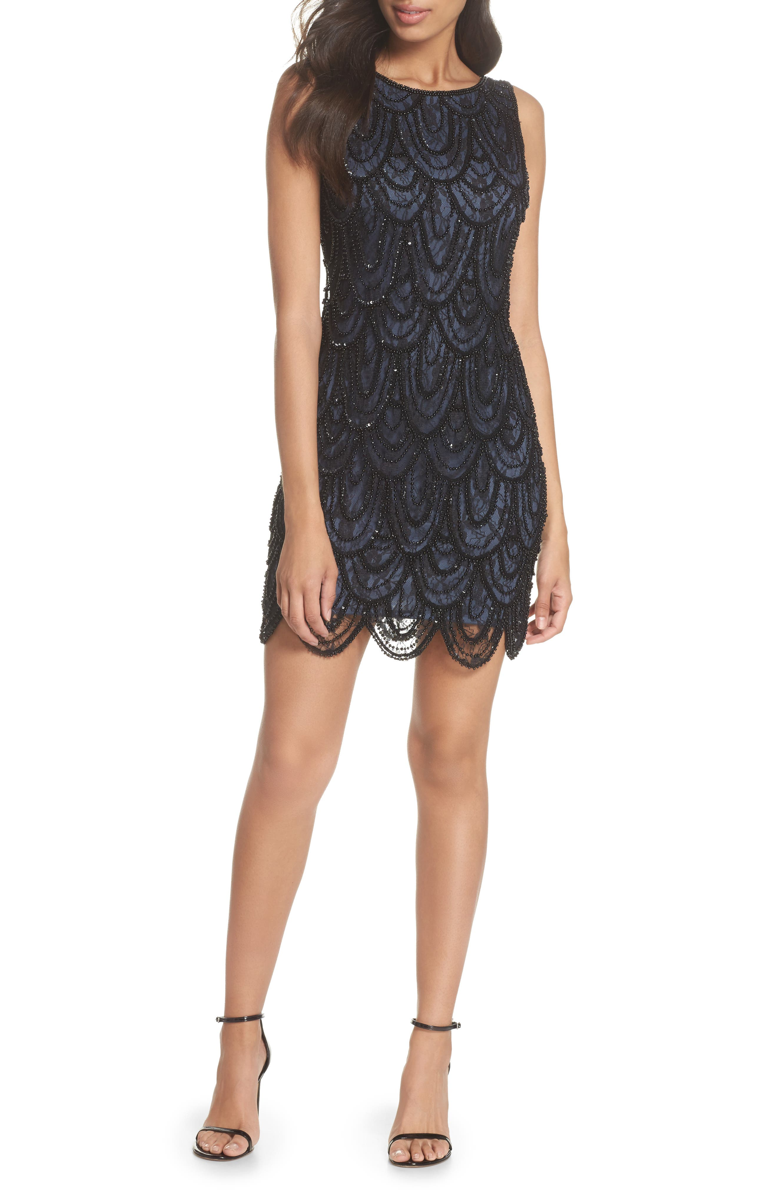 Pisarro Nights Beaded Lace Sheath Dress (Regular & Petite)