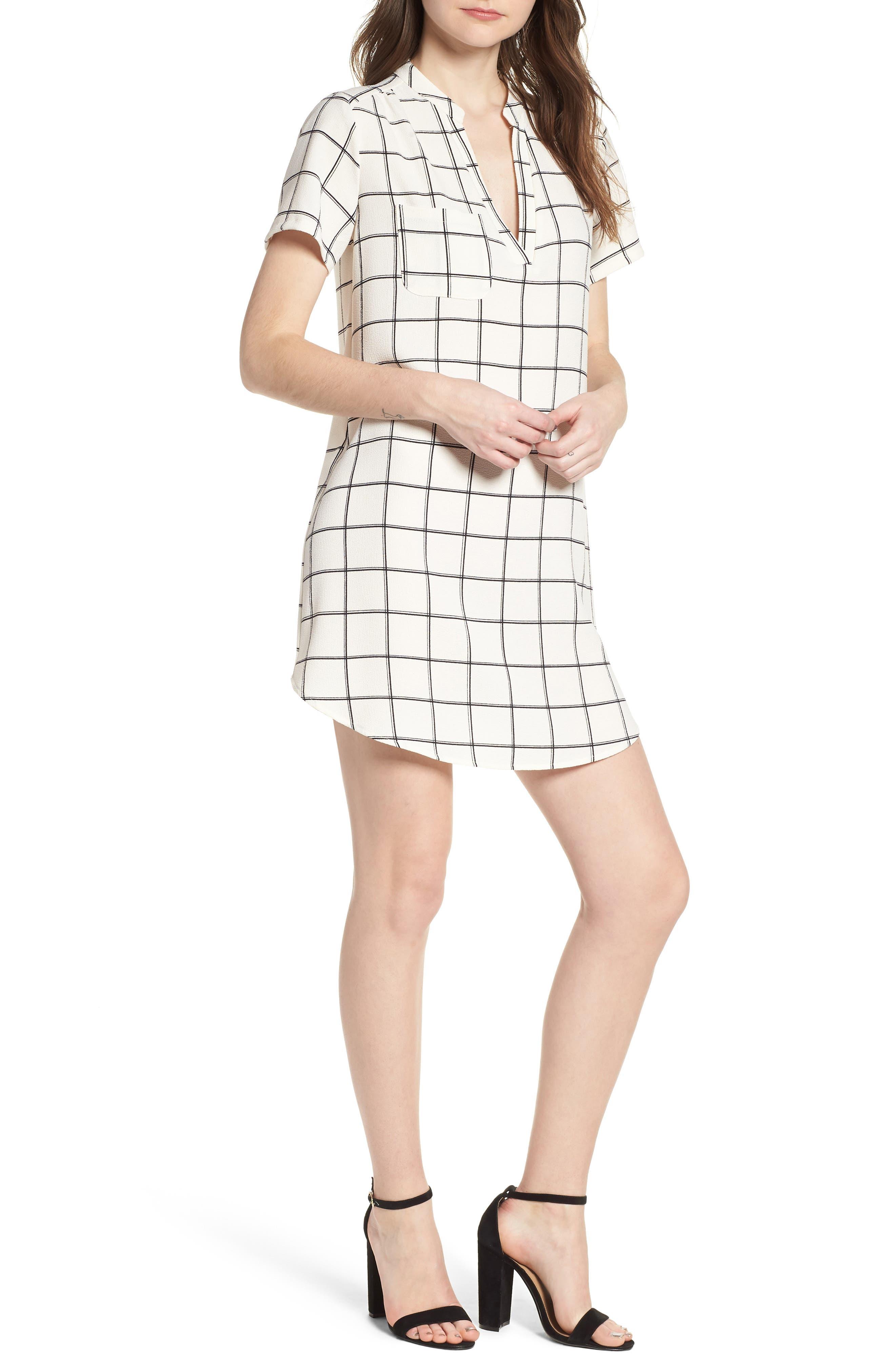 Hailey Crepe Shift Dress,                             Main thumbnail 1, color,                             Ivory/Black Grid