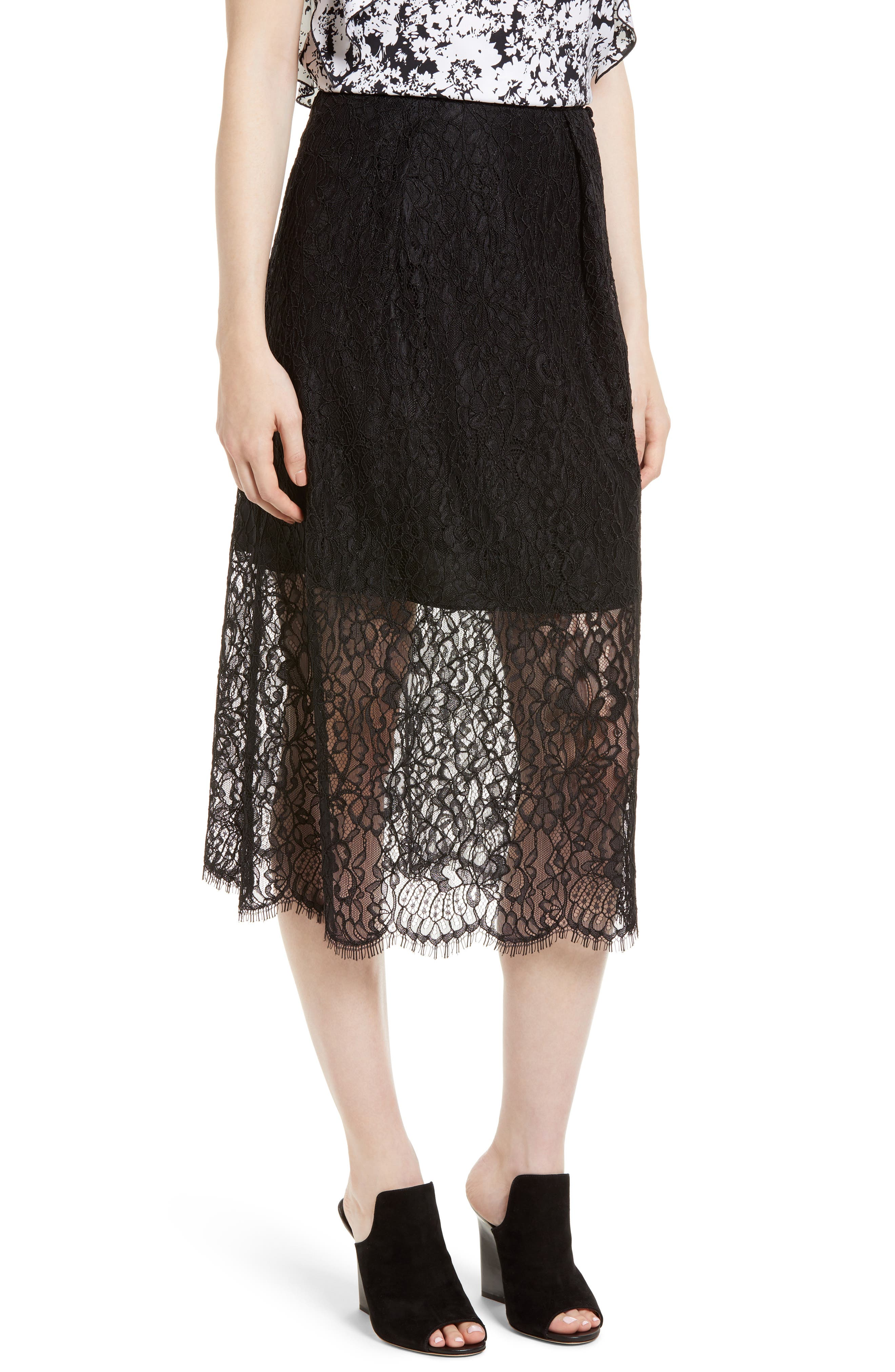Lace Midi Skirt,                         Main,                         color, Black