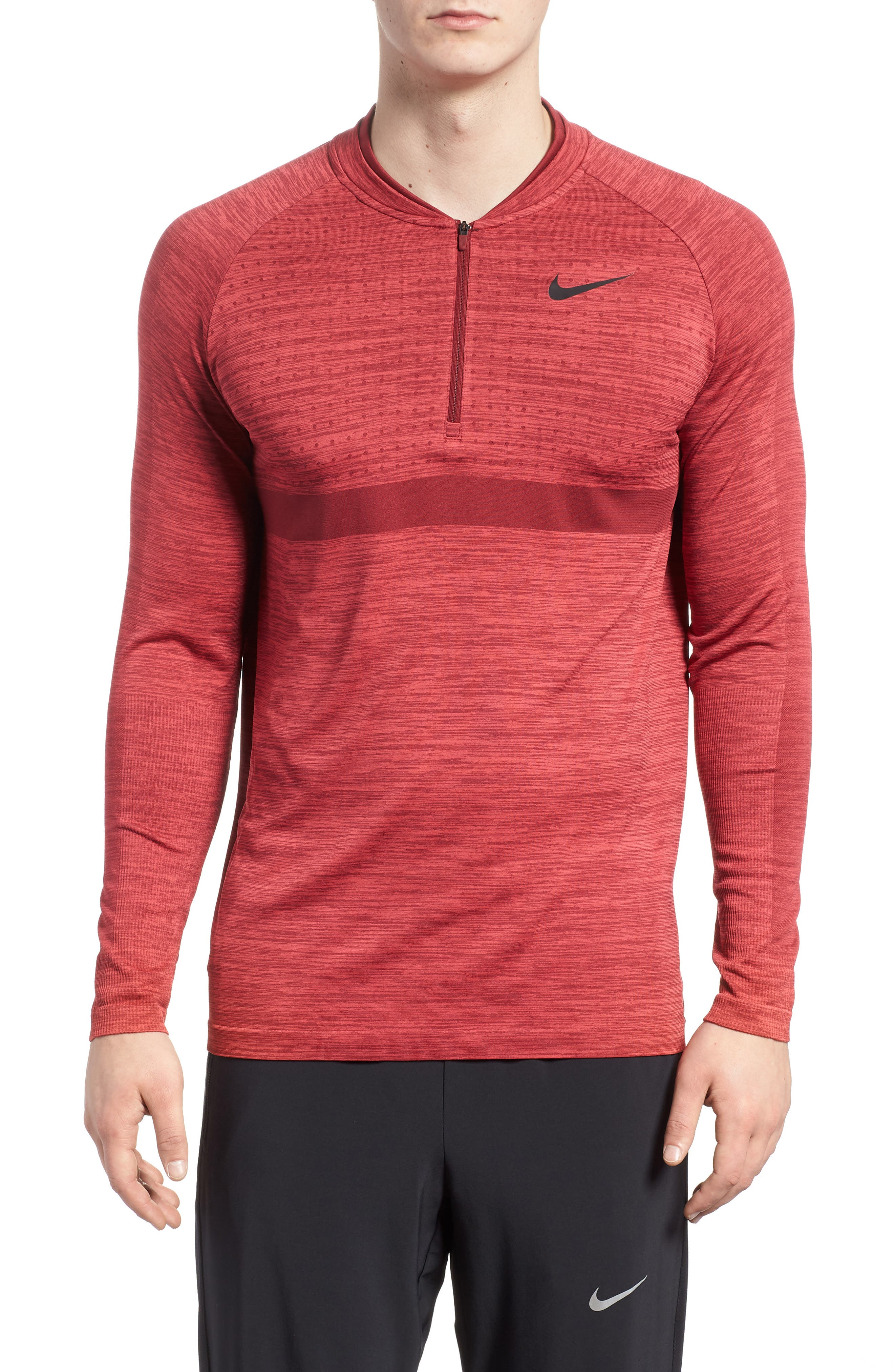 Dry Seamless Half Zip Golf Pullover,                             Main thumbnail 1, color,                             Tropical Pink/ Team Red/ Black