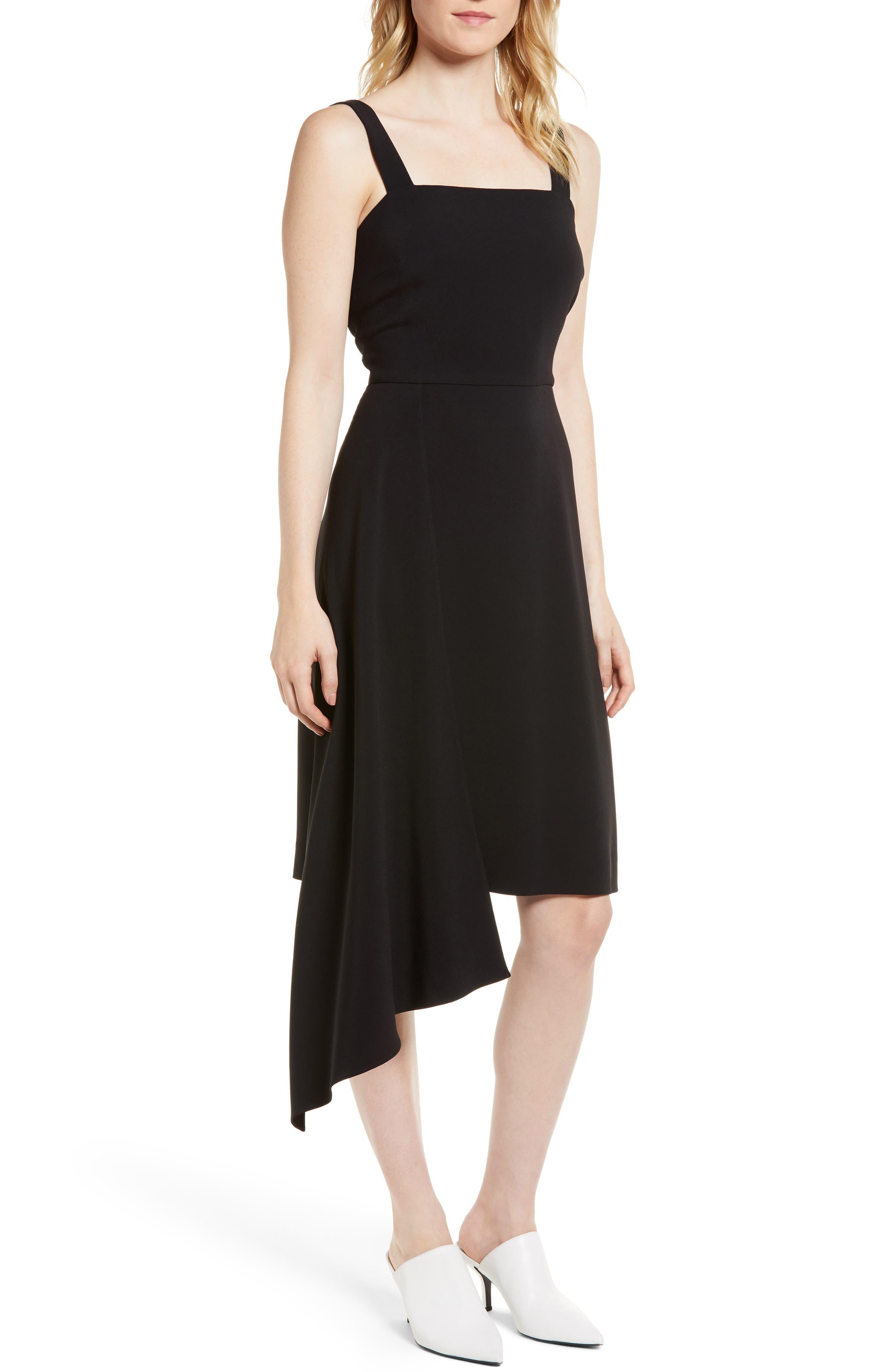 Side Drape Jumper Dress,                             Main thumbnail 1, color,                             Black