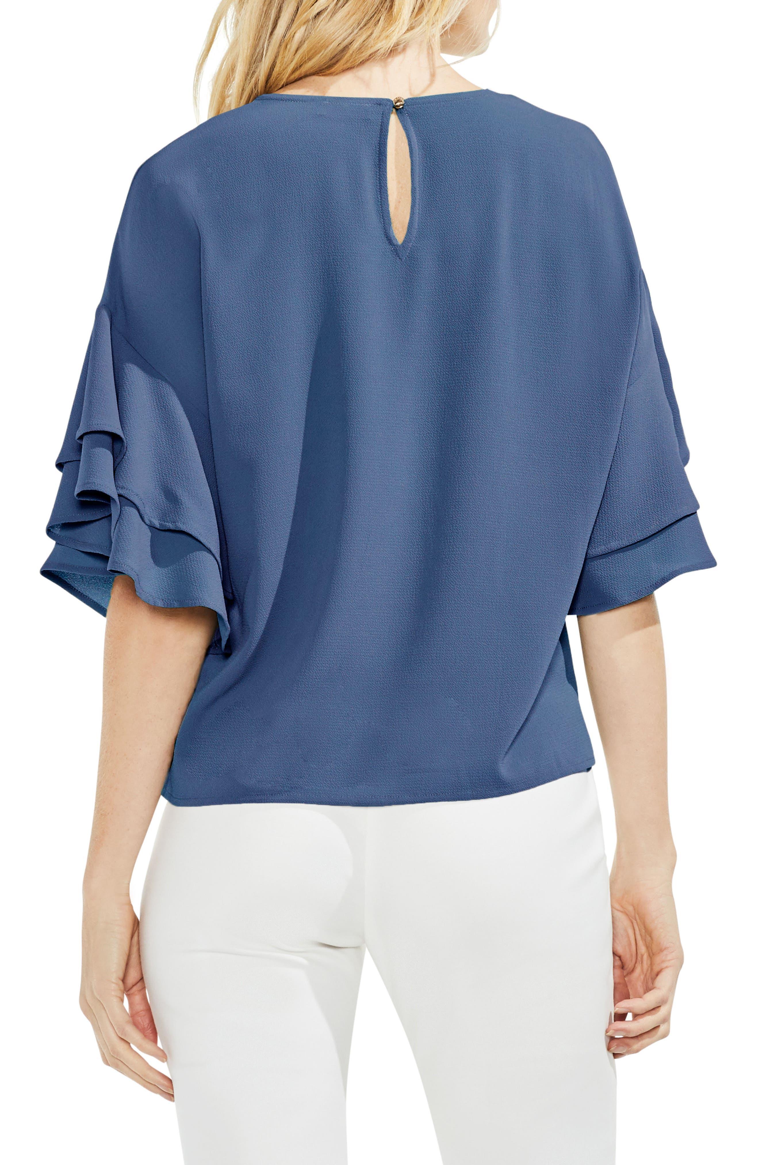 Drop Shoulder Ruffle Sleeve Blouse,                             Alternate thumbnail 2, color,                             China Blue