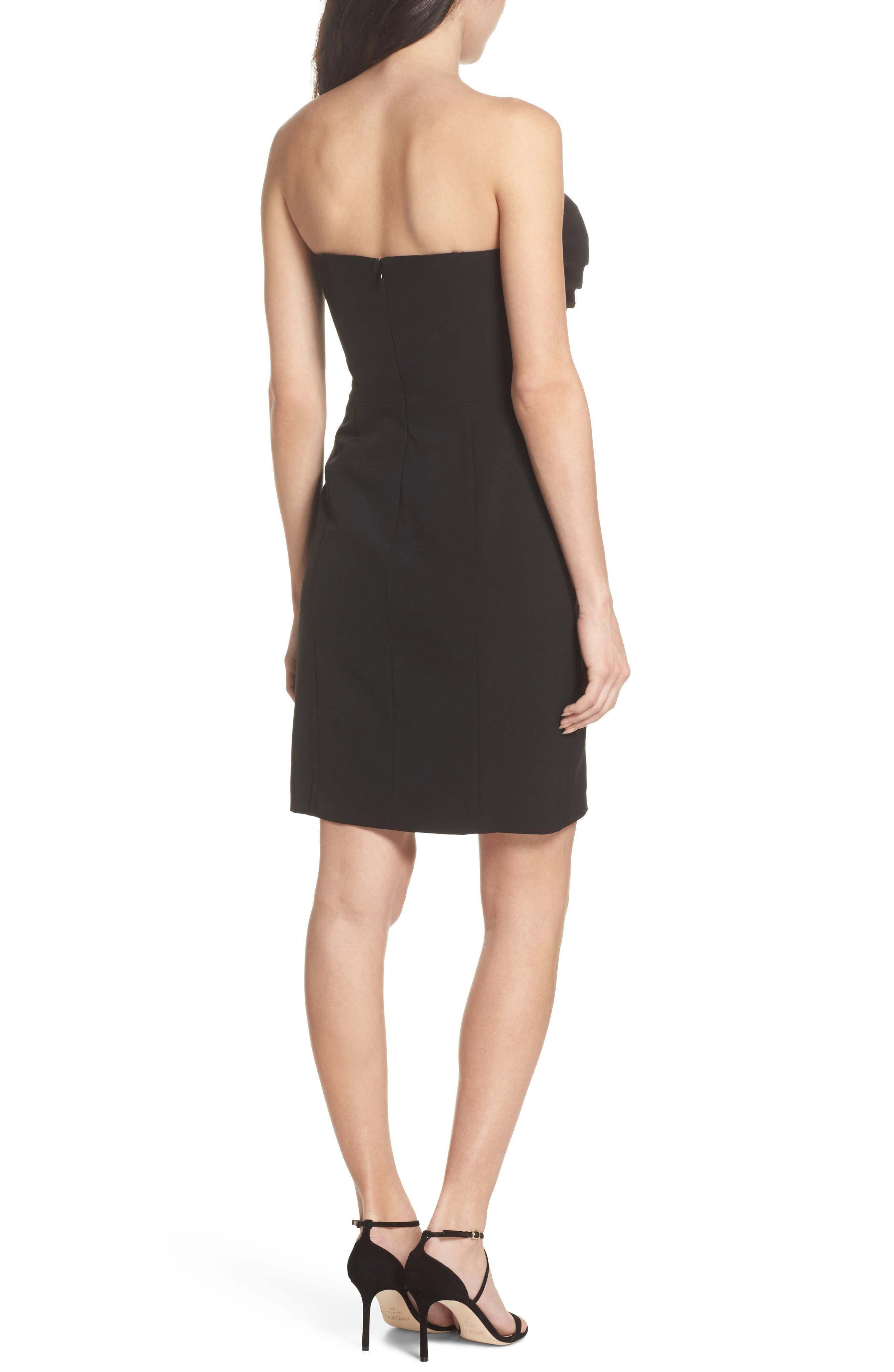 Ruffle Apron Detail Strapless Dress,                             Alternate thumbnail 2, color,                             Black